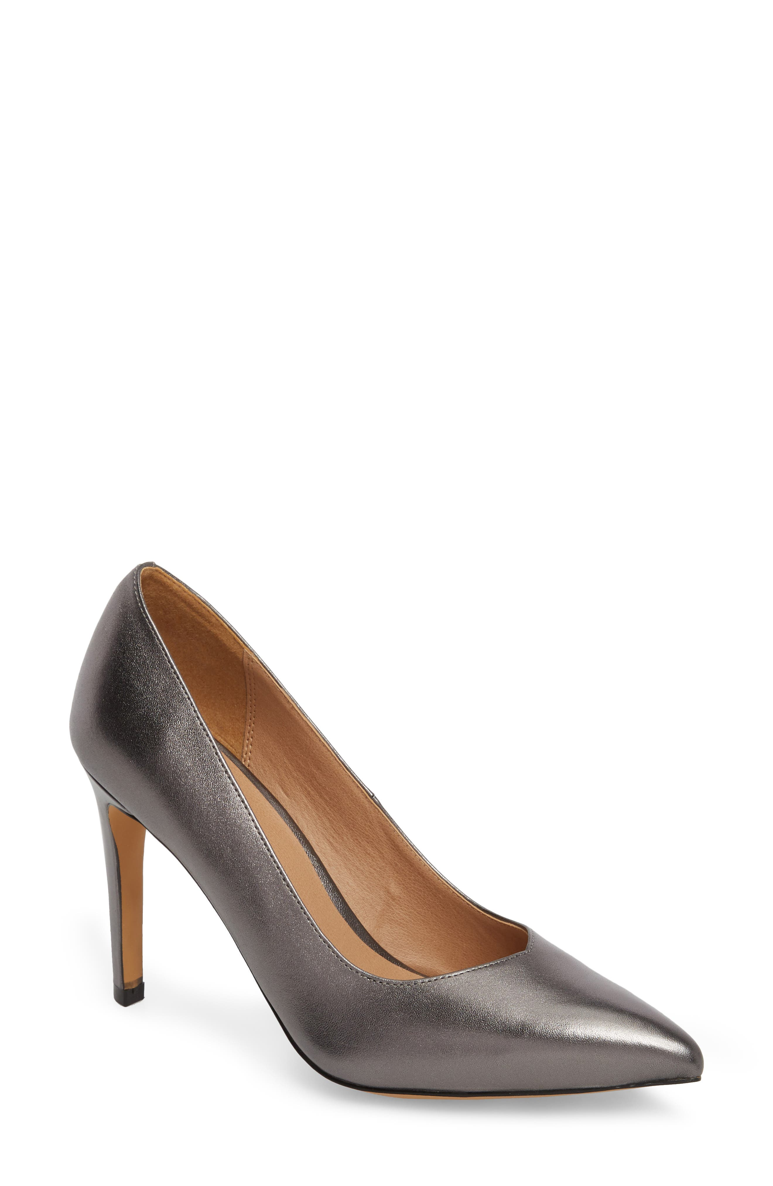 Palma Pointy Toe Pump,                         Main,                         color, GUNMETAL LEATHER