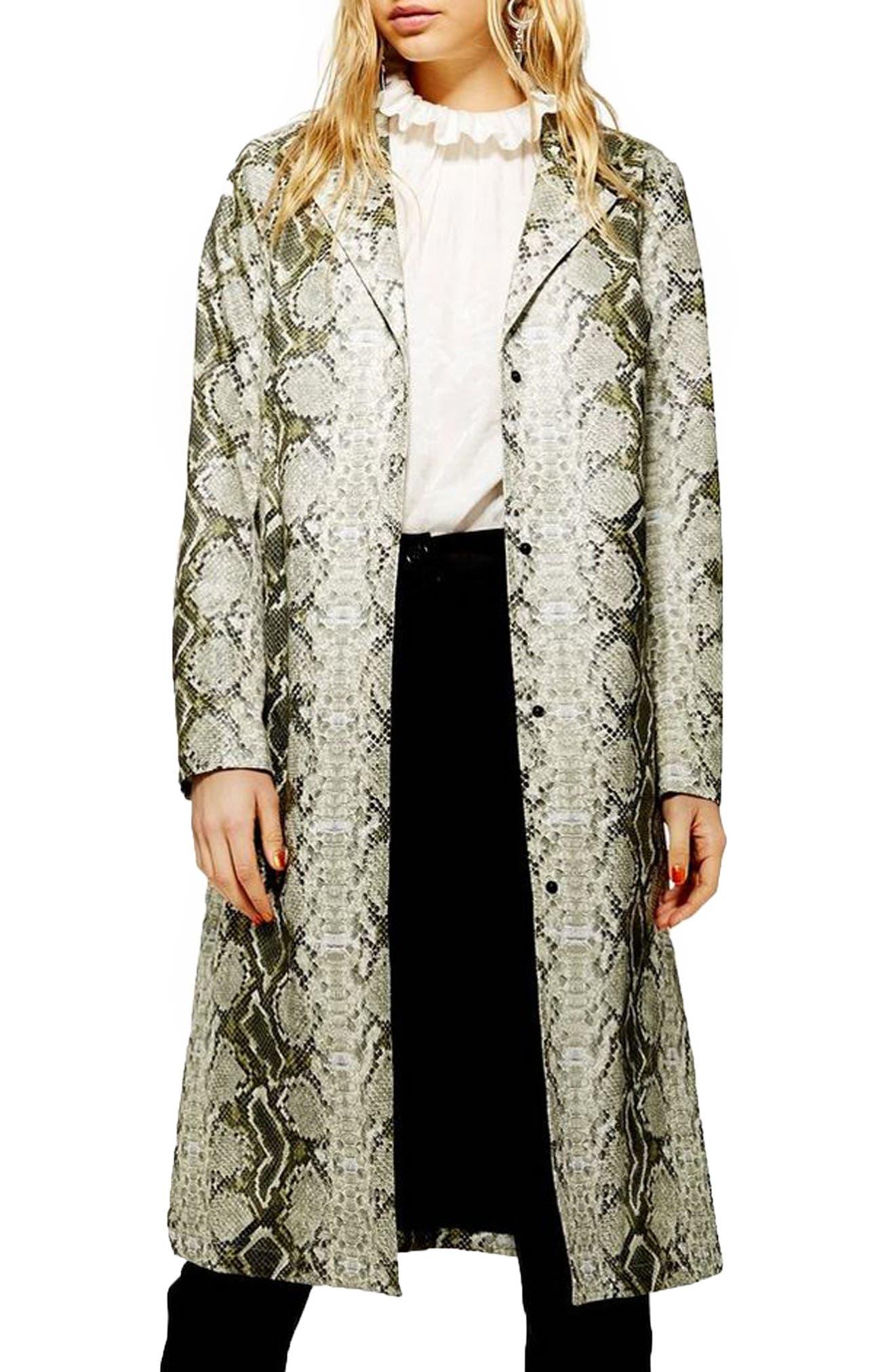 TOPSHOP Rok It Snake Print Coat, Main, color, GREEN MULTI