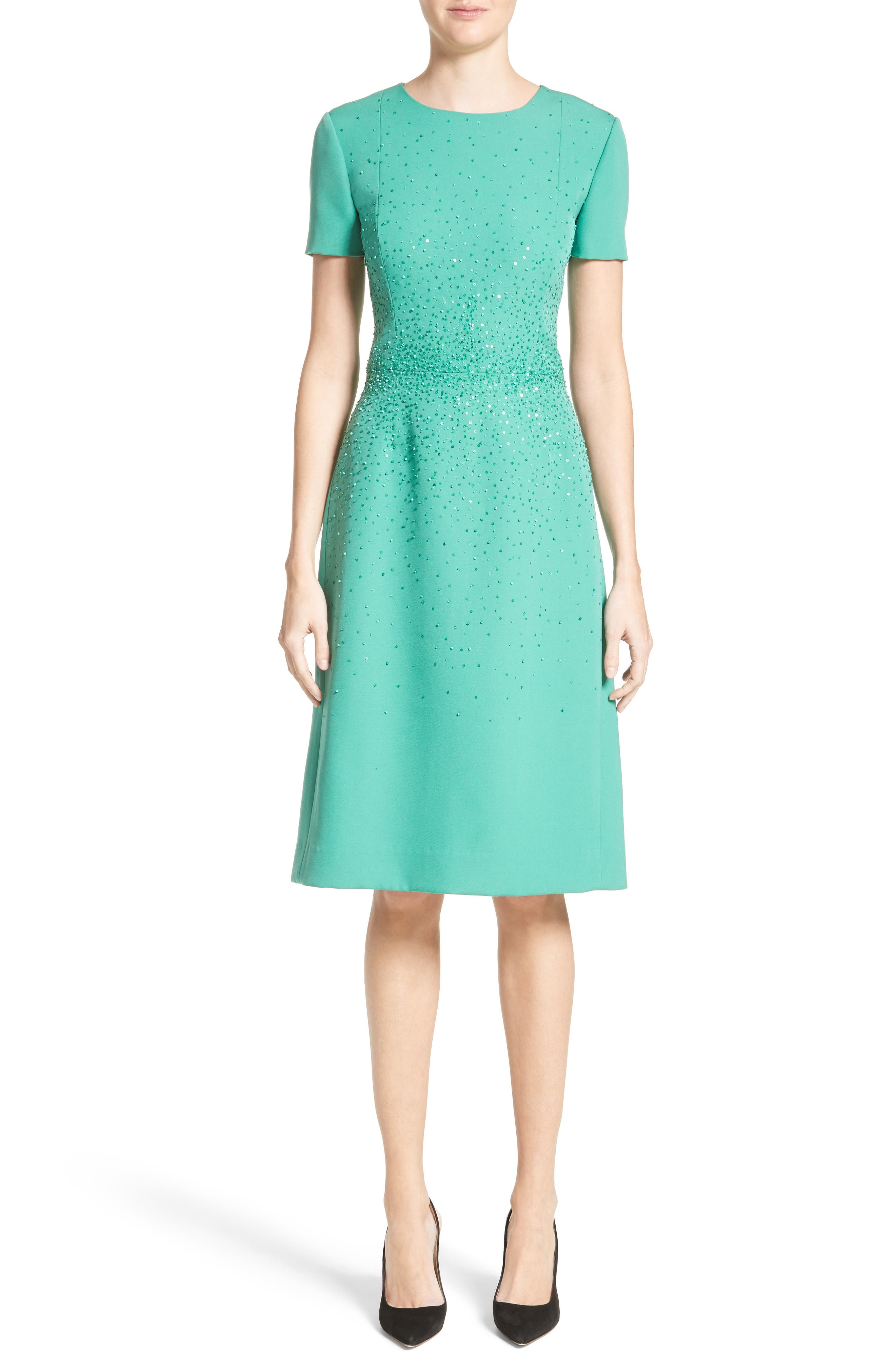 Beaded Stretch Wool Dress,                             Alternate thumbnail 6, color,                             300