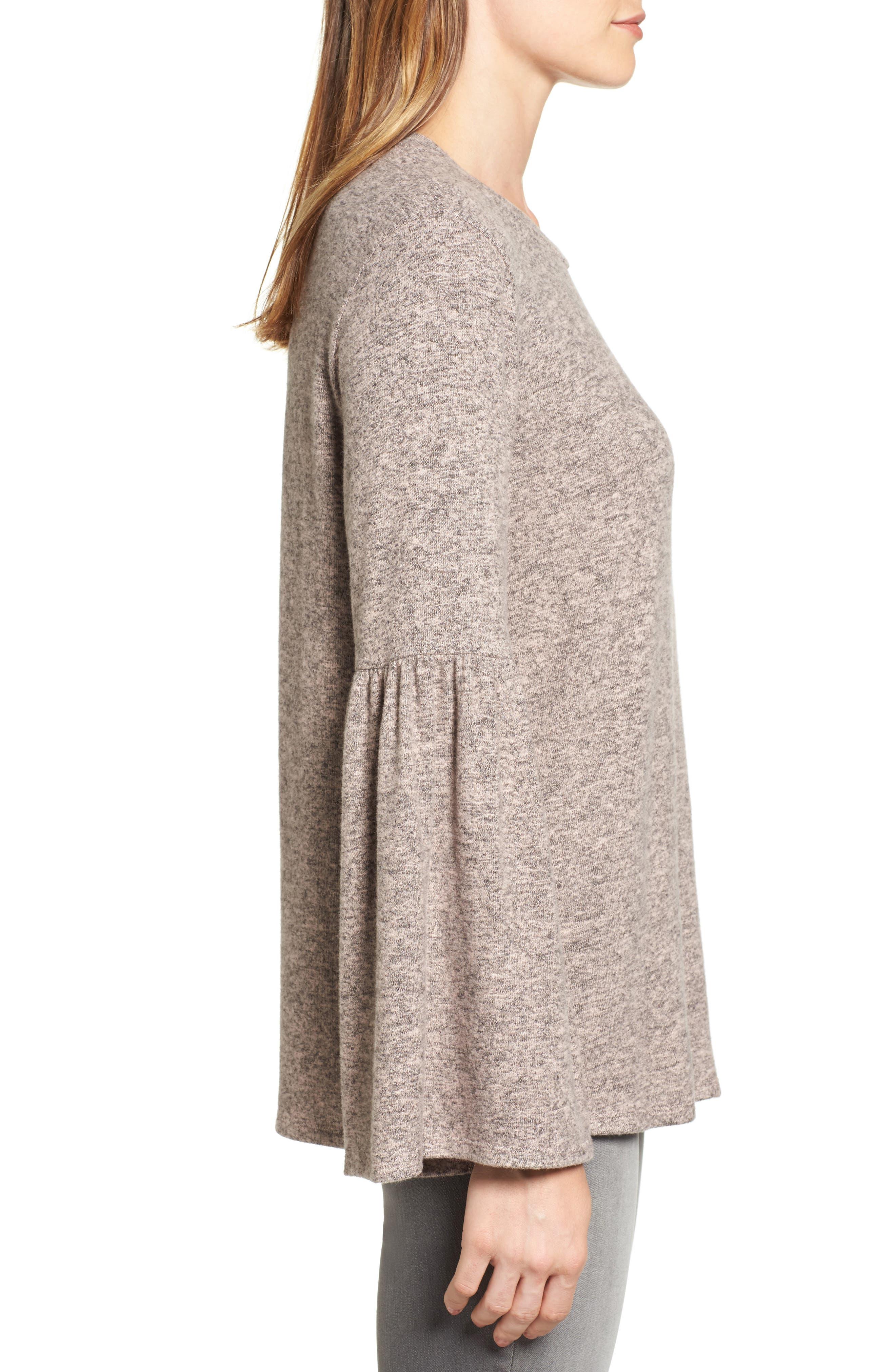 Bell Sleeve Cozy Fleece Pullover,                             Alternate thumbnail 35, color,