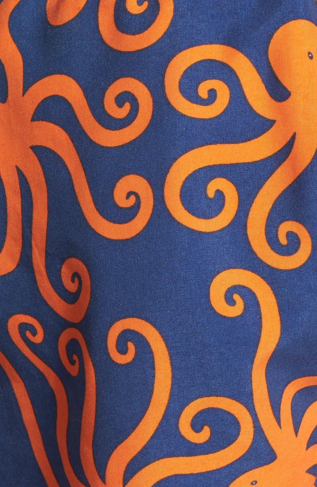 'Octopus Pattern' Swim Trunks,                             Alternate thumbnail 5, color,                             BLUE/ ORANGE