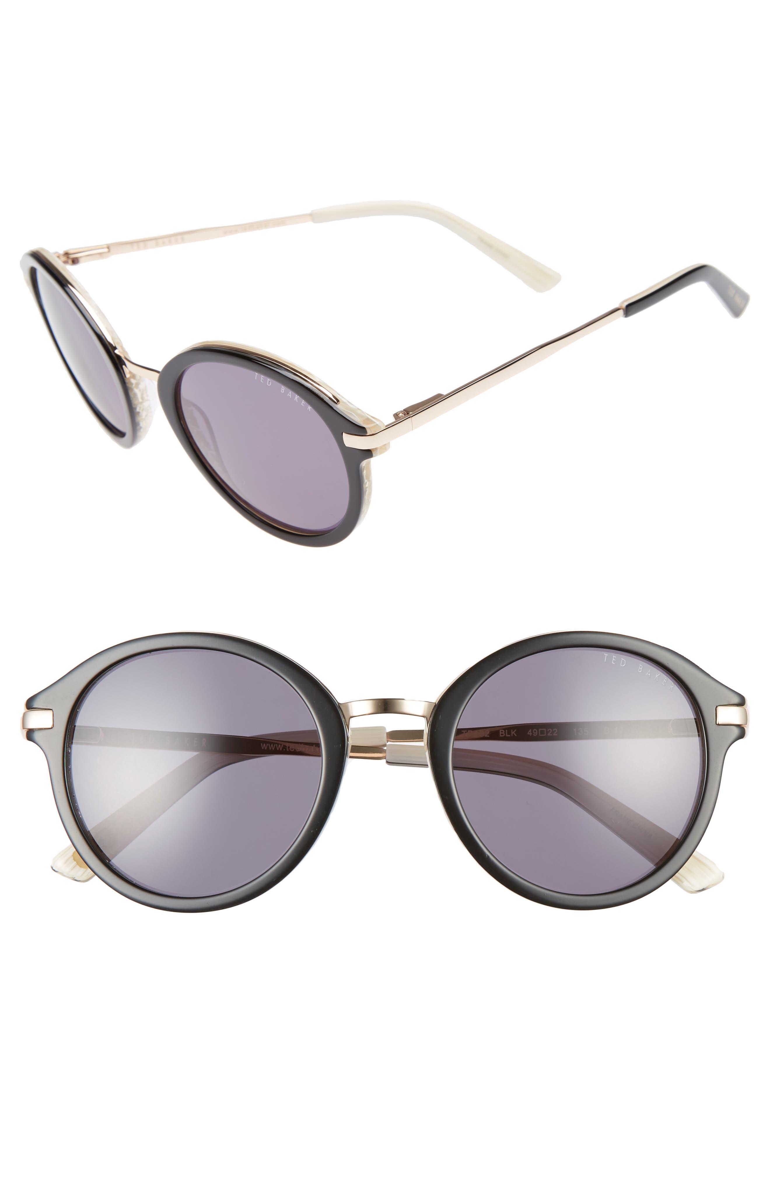 49mm Round Sunglasses,                             Main thumbnail 1, color,                             001