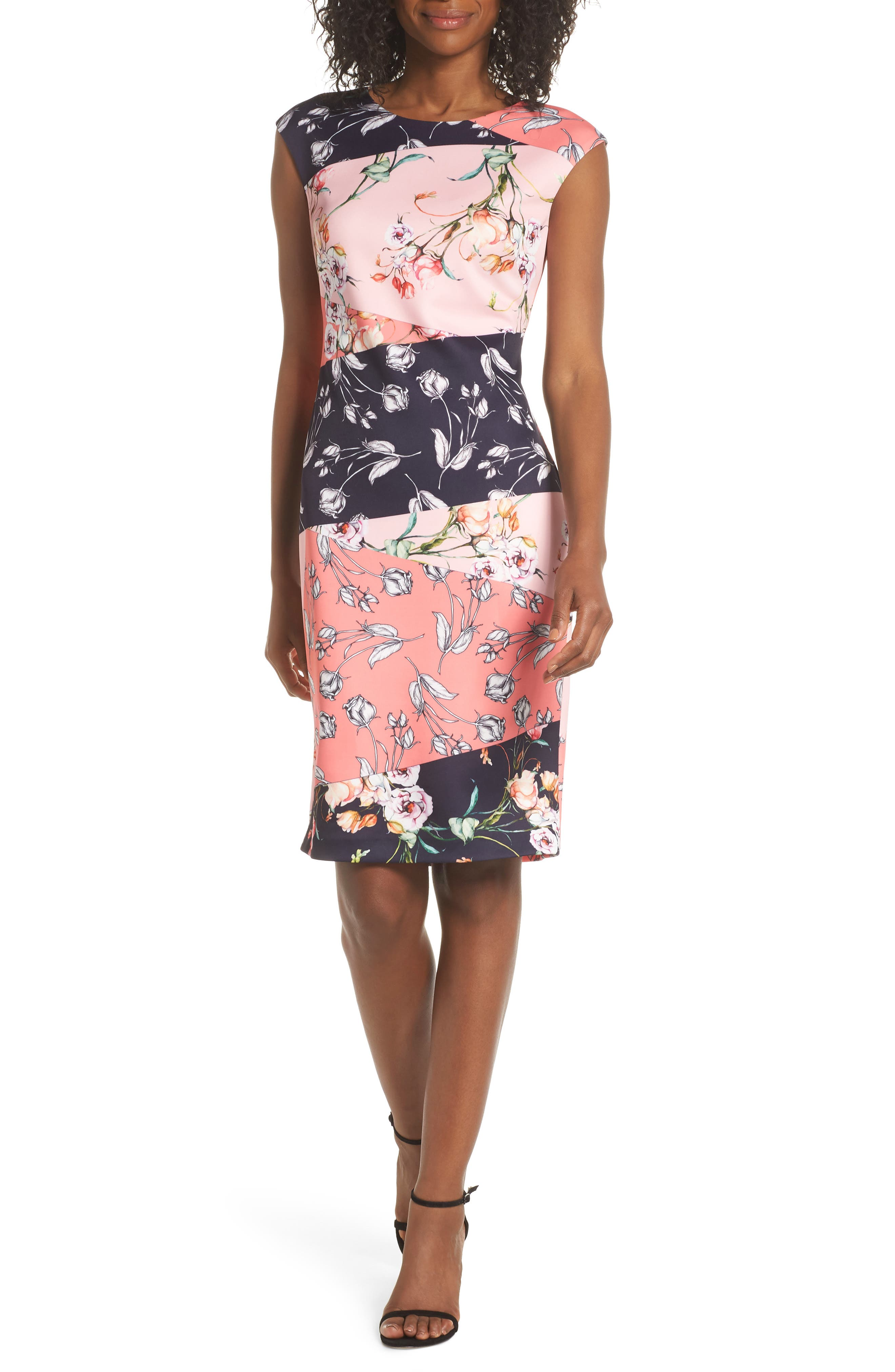 Vince Camuto Floral Print Scuba Crepe Sheath Dress, Pink