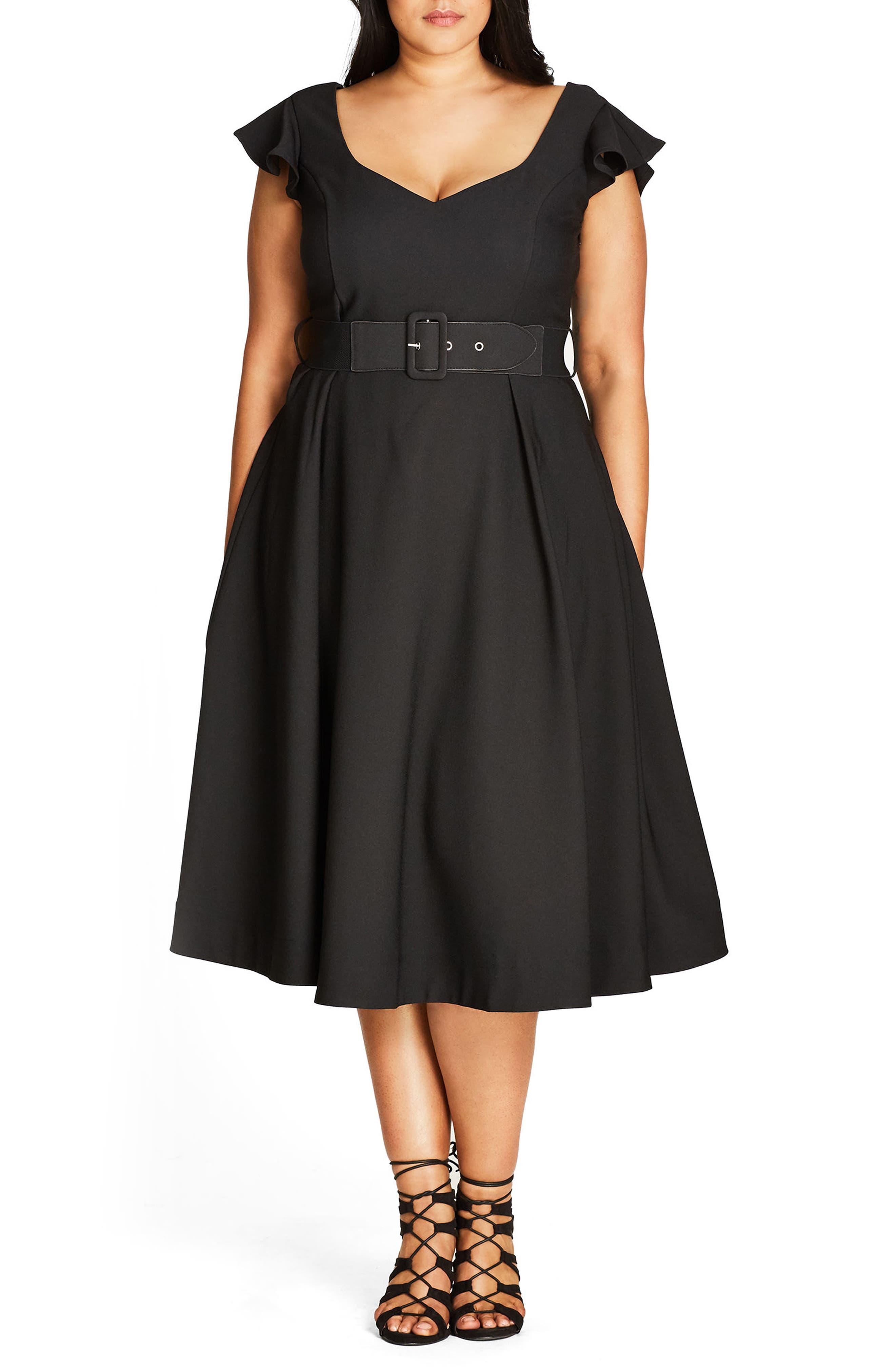 Flirty Flutter Belted Midi Dress,                             Main thumbnail 1, color,                             001
