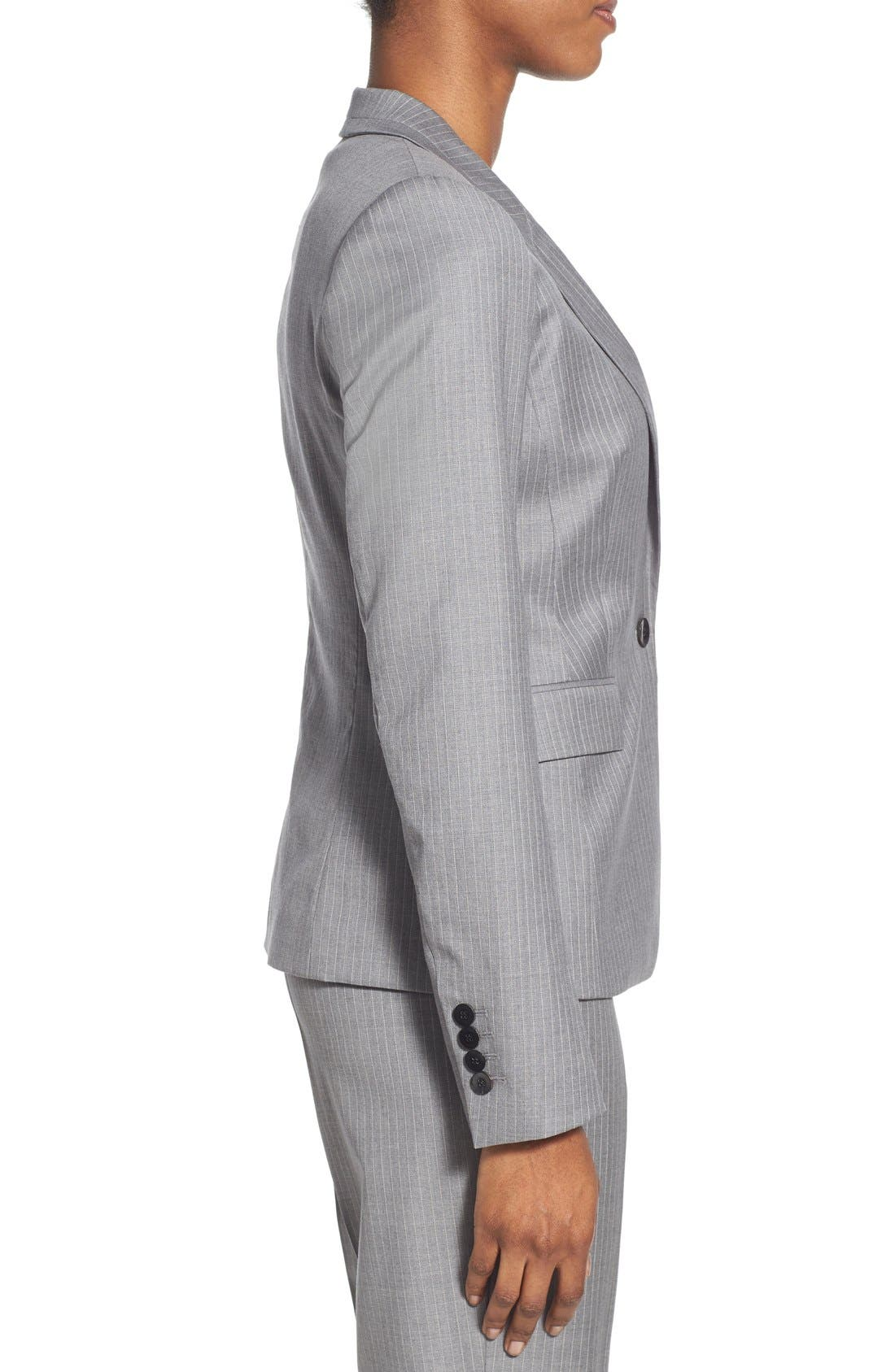 'Jelenna' Pinstripe One-Button Suit Jacket,                             Alternate thumbnail 3, color,                             060