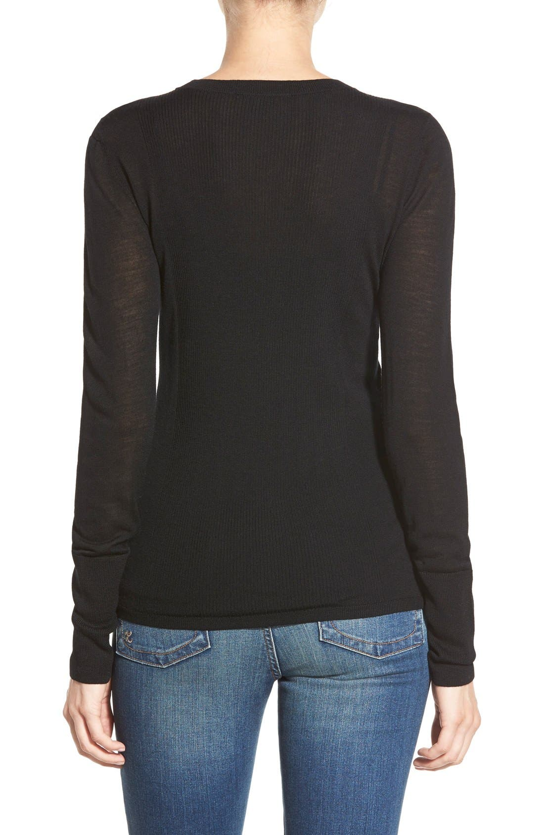 HALOGEN<SUP>®</SUP>,                             Rib Detail Lightweight Merino Wool Sweater,                             Alternate thumbnail 5, color,                             001