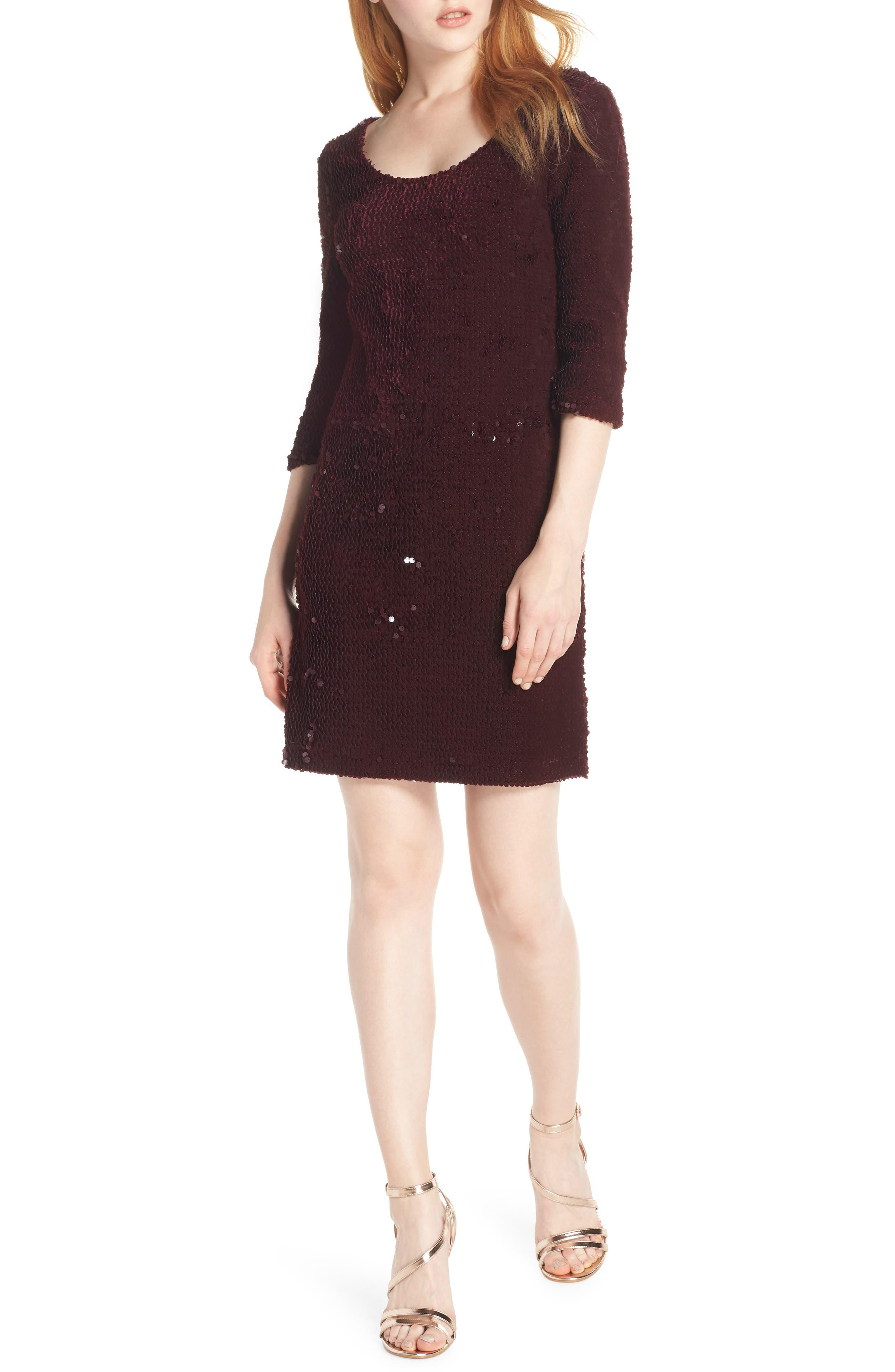 Bb Dakota Sequined Velvet Dress, Burgundy