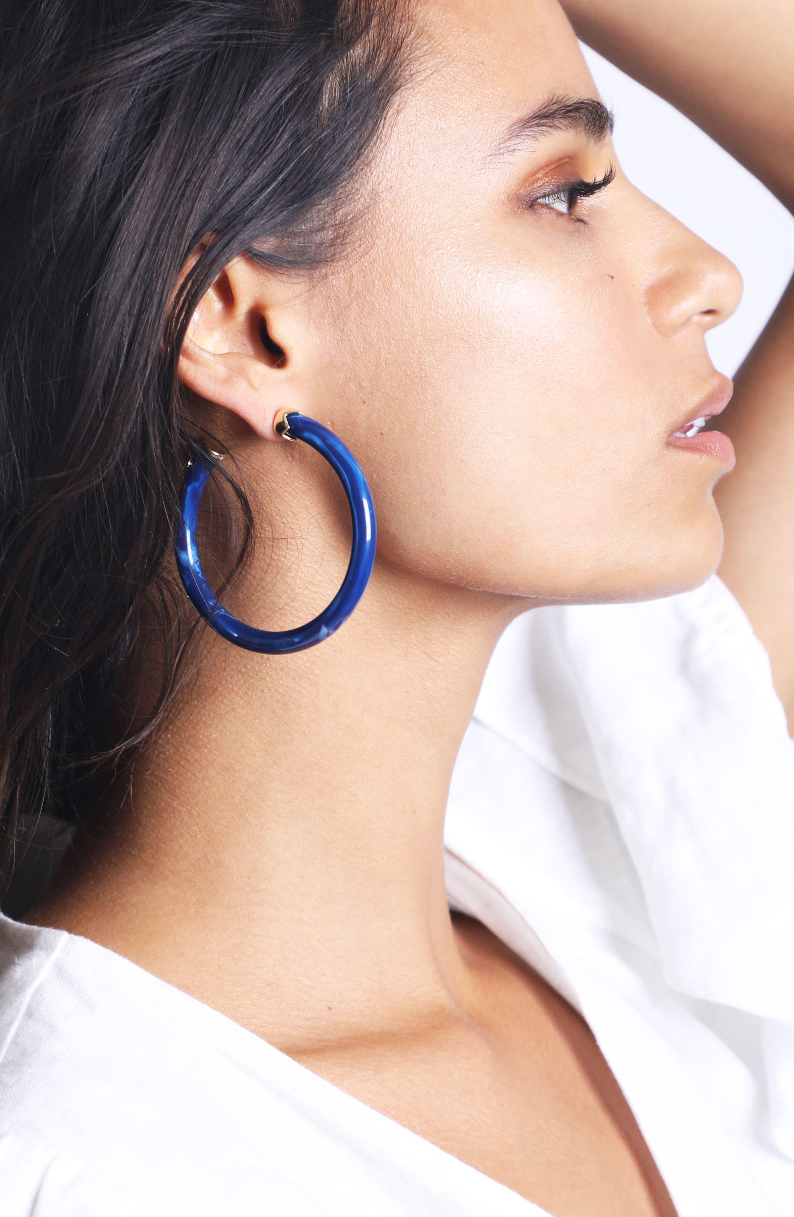 Marbleized Hoop Earrings,                             Alternate thumbnail 4, color,                             400