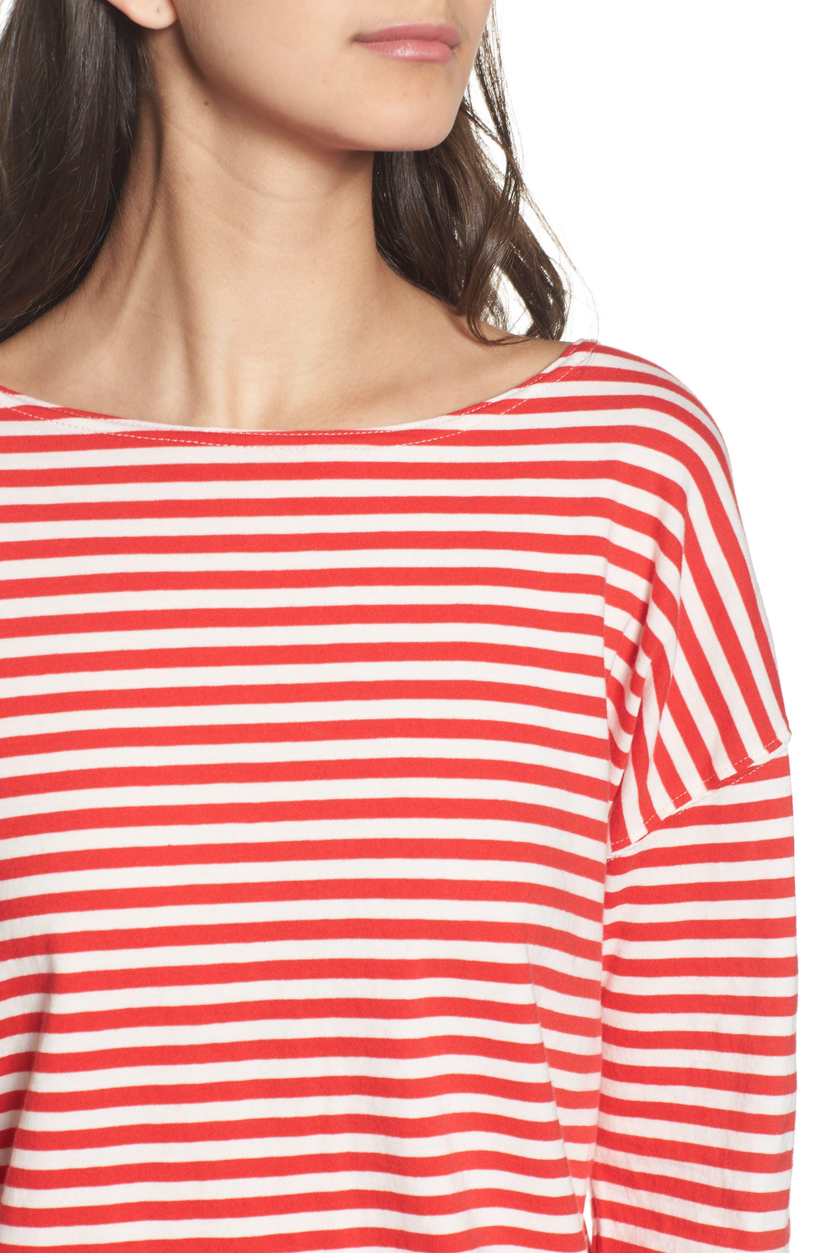 Classic Fit Breton Stripe T-Shirt,                             Alternate thumbnail 4, color,                             611
