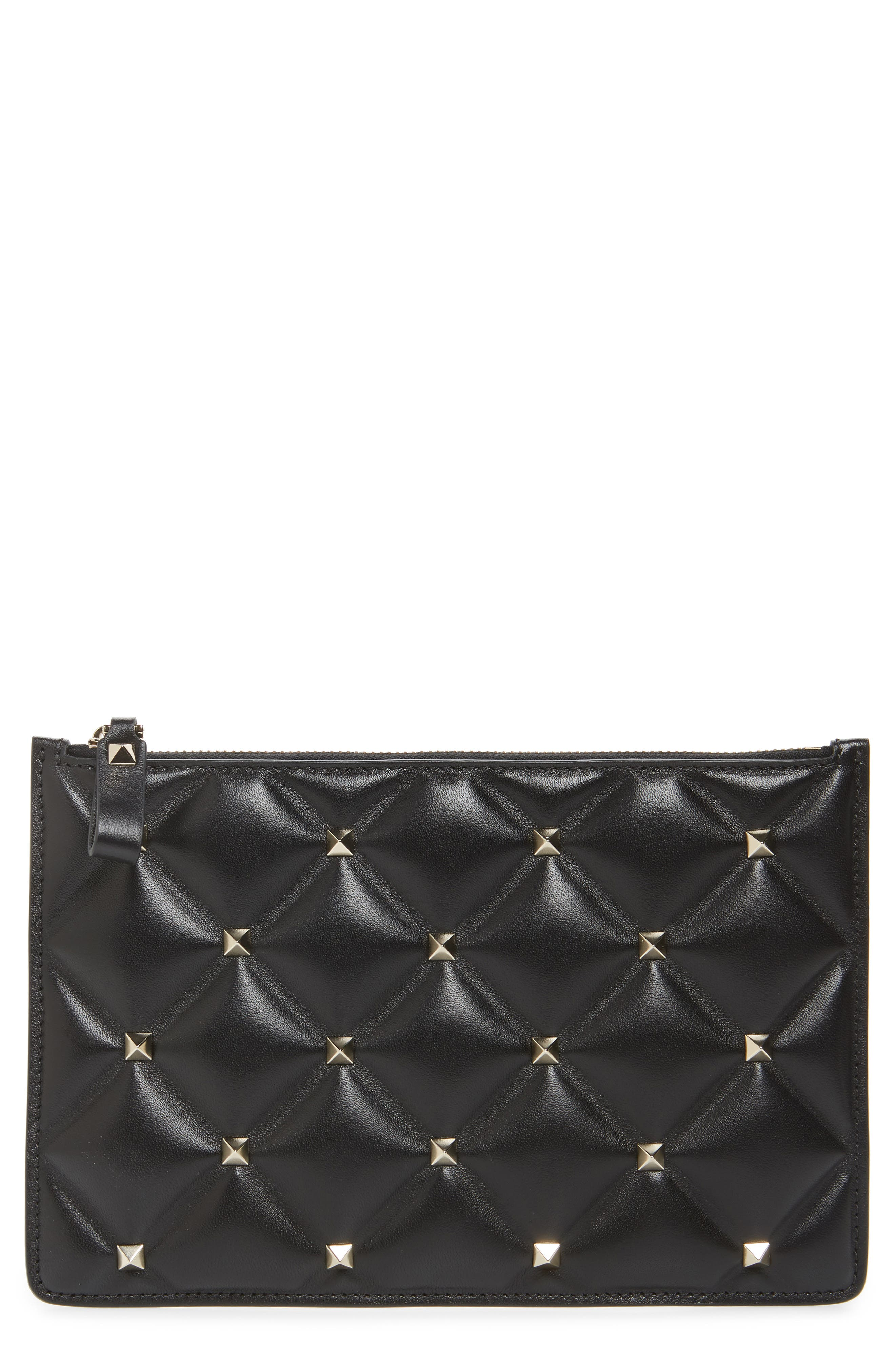 Medium Candystud Leather Pouch,                             Main thumbnail 1, color,                             NERO
