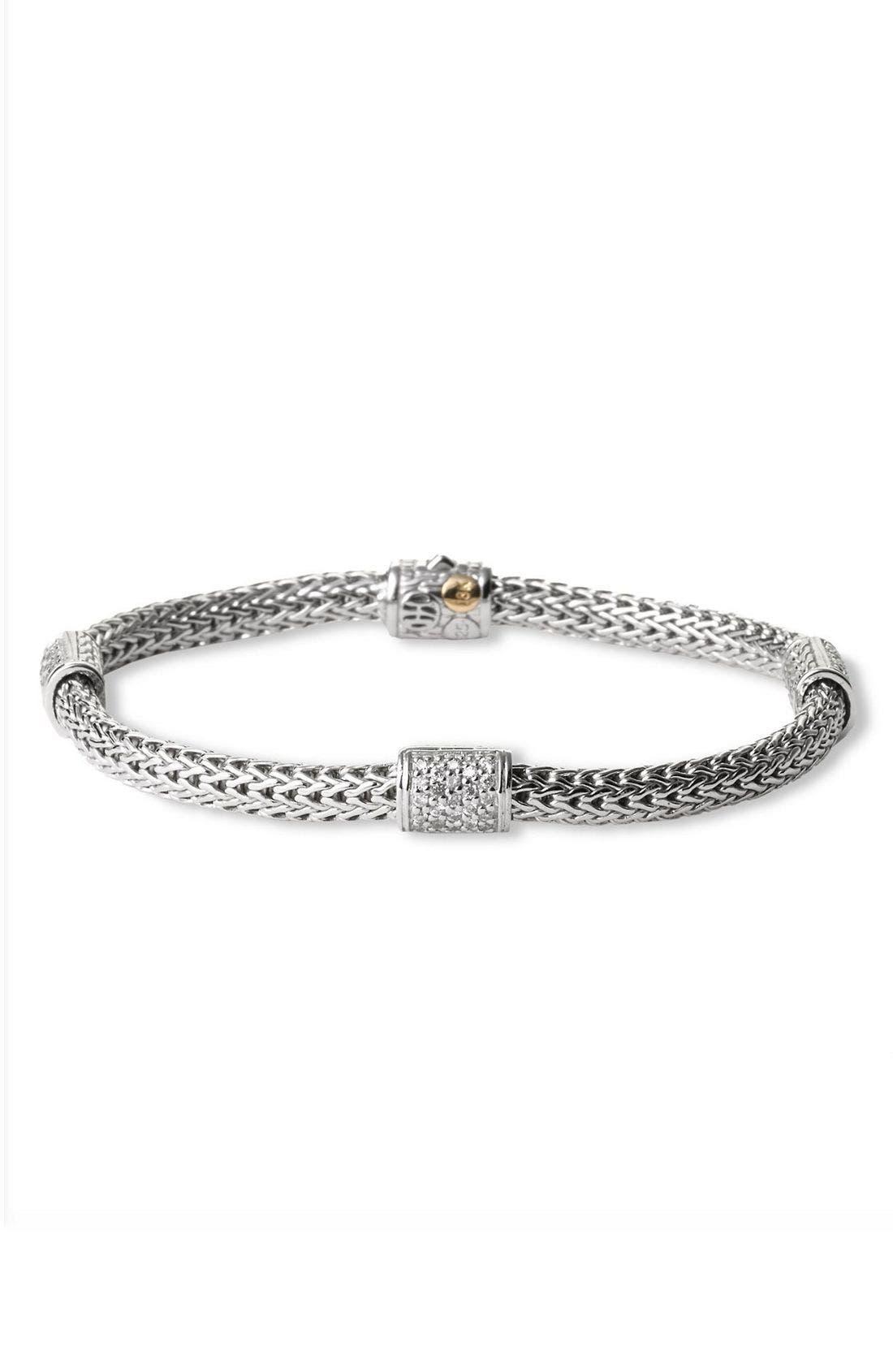 'Classic Chain' Pavé Diamond Station Bracelet,                             Main thumbnail 1, color,                             SILVER