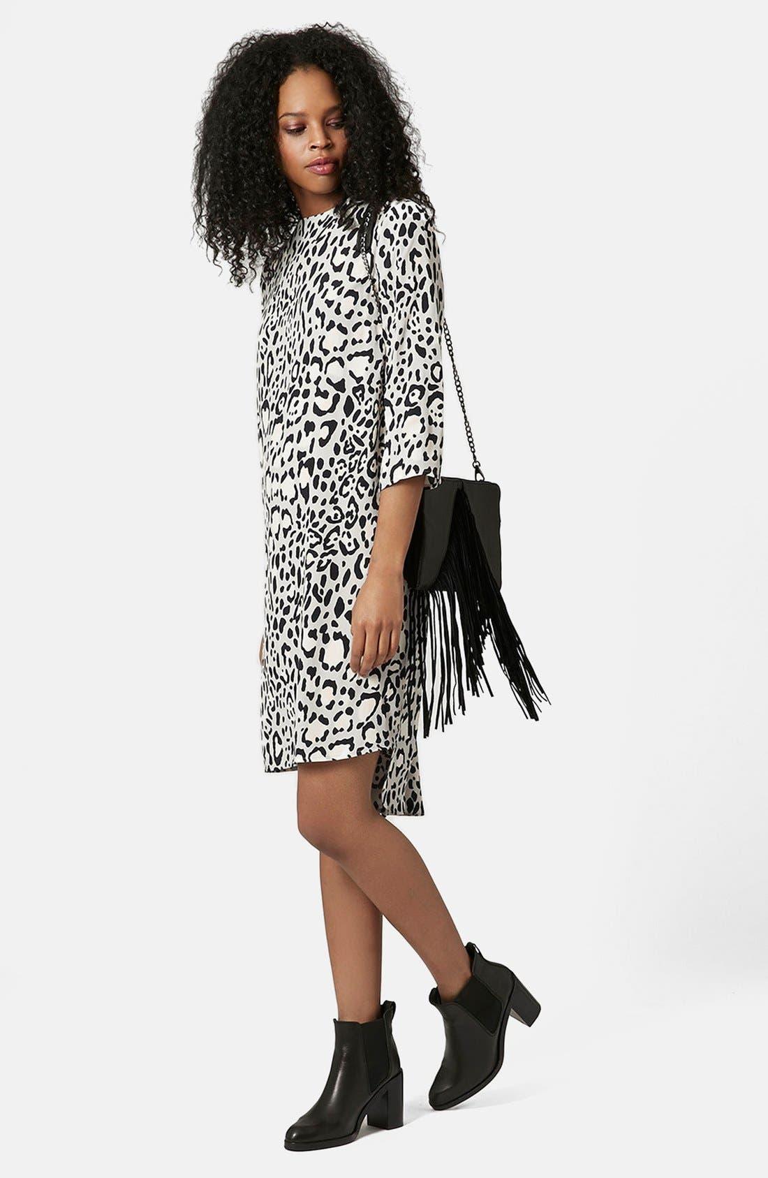 TOPSHOP Monochrome High Neck Dress, Main, color, 001