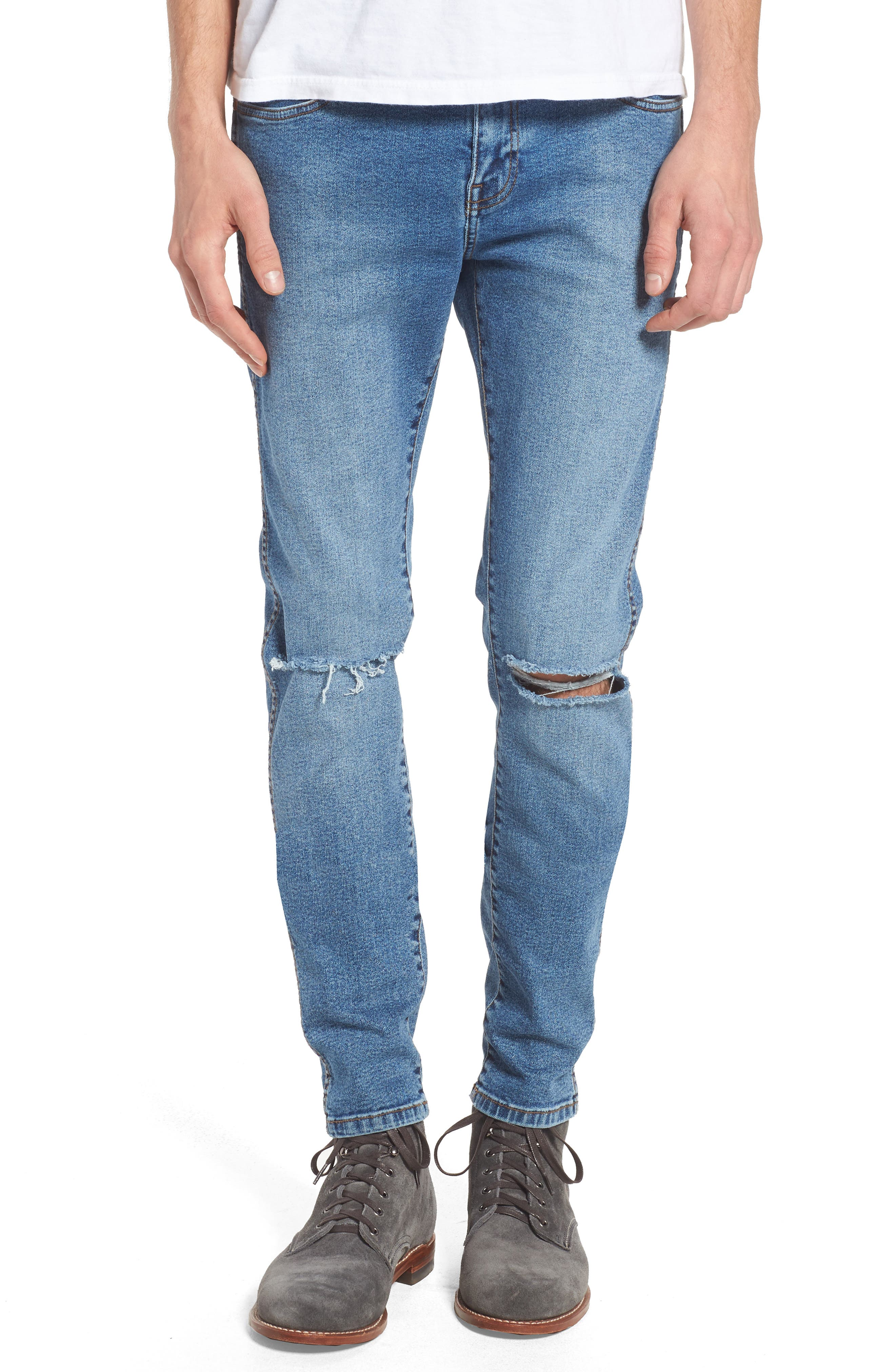 Snap Skinny Fit Jeans,                             Main thumbnail 1, color,                             LIGHT STONE DESTROYED
