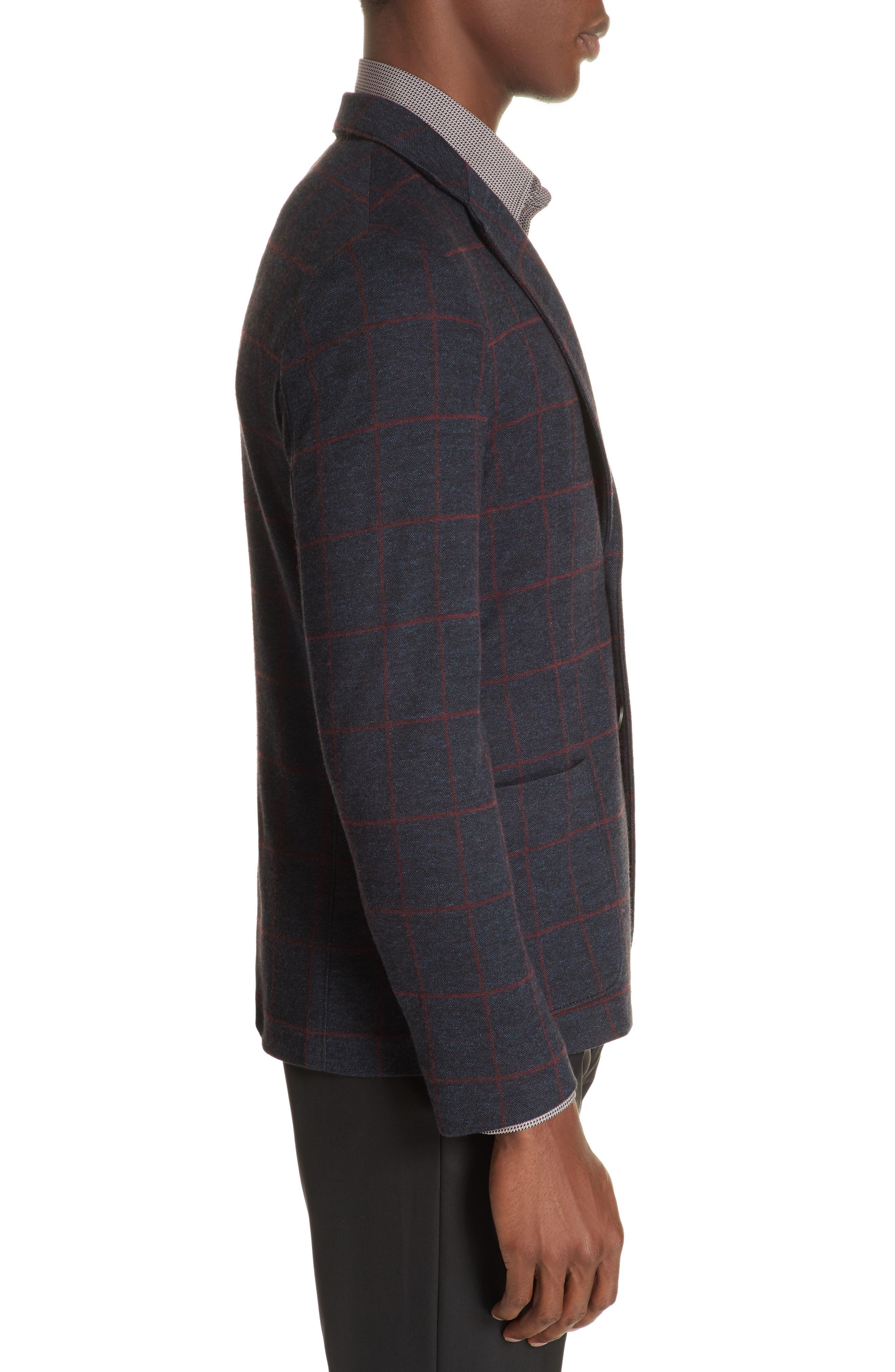 Trim Fit Windowpane Cotton Blend Sport Coat,                             Alternate thumbnail 3, color,                             BLUE MULTI