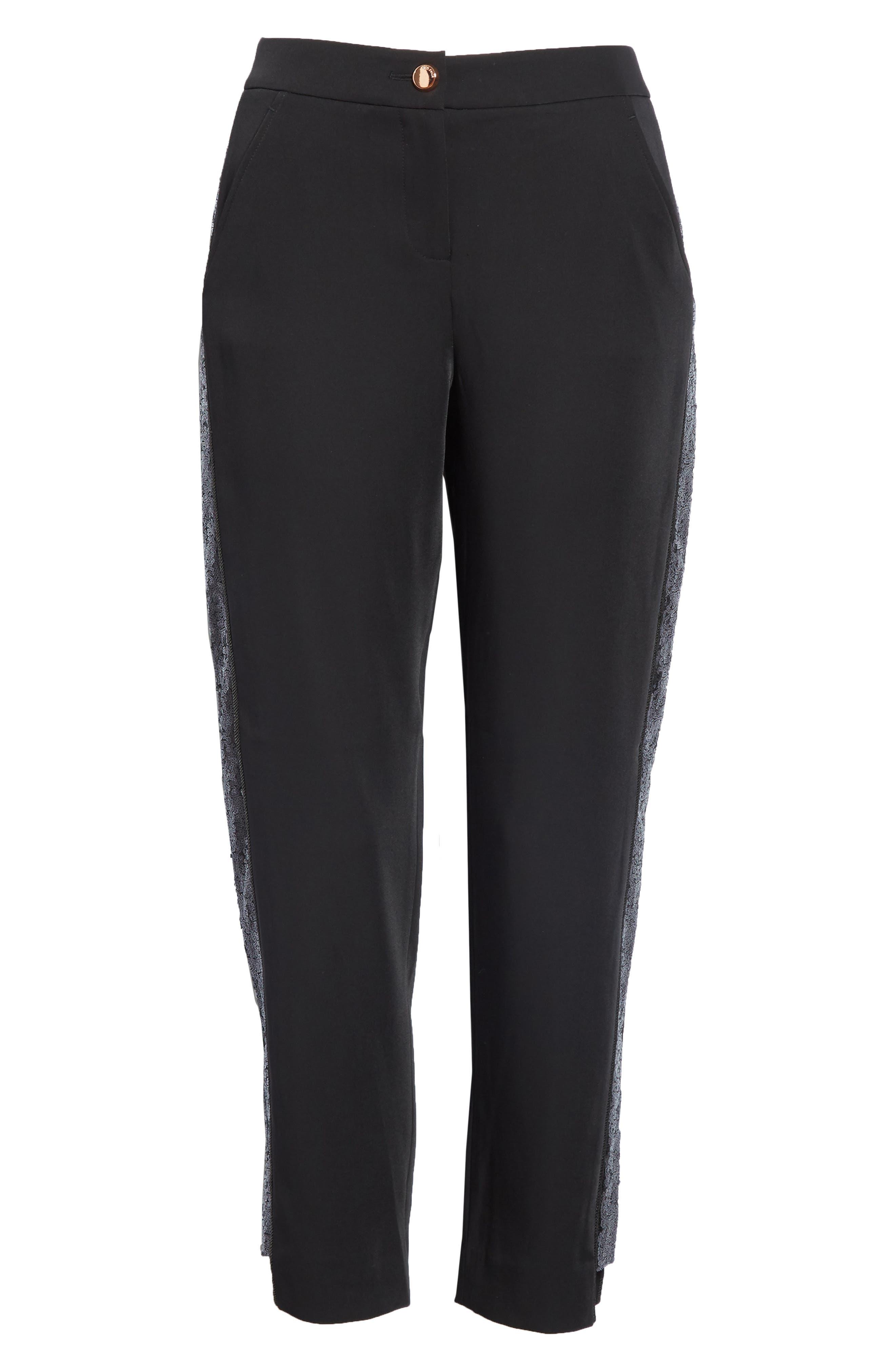 Polliit Sequin Side Panel Pants,                             Alternate thumbnail 6, color,                             BLACK