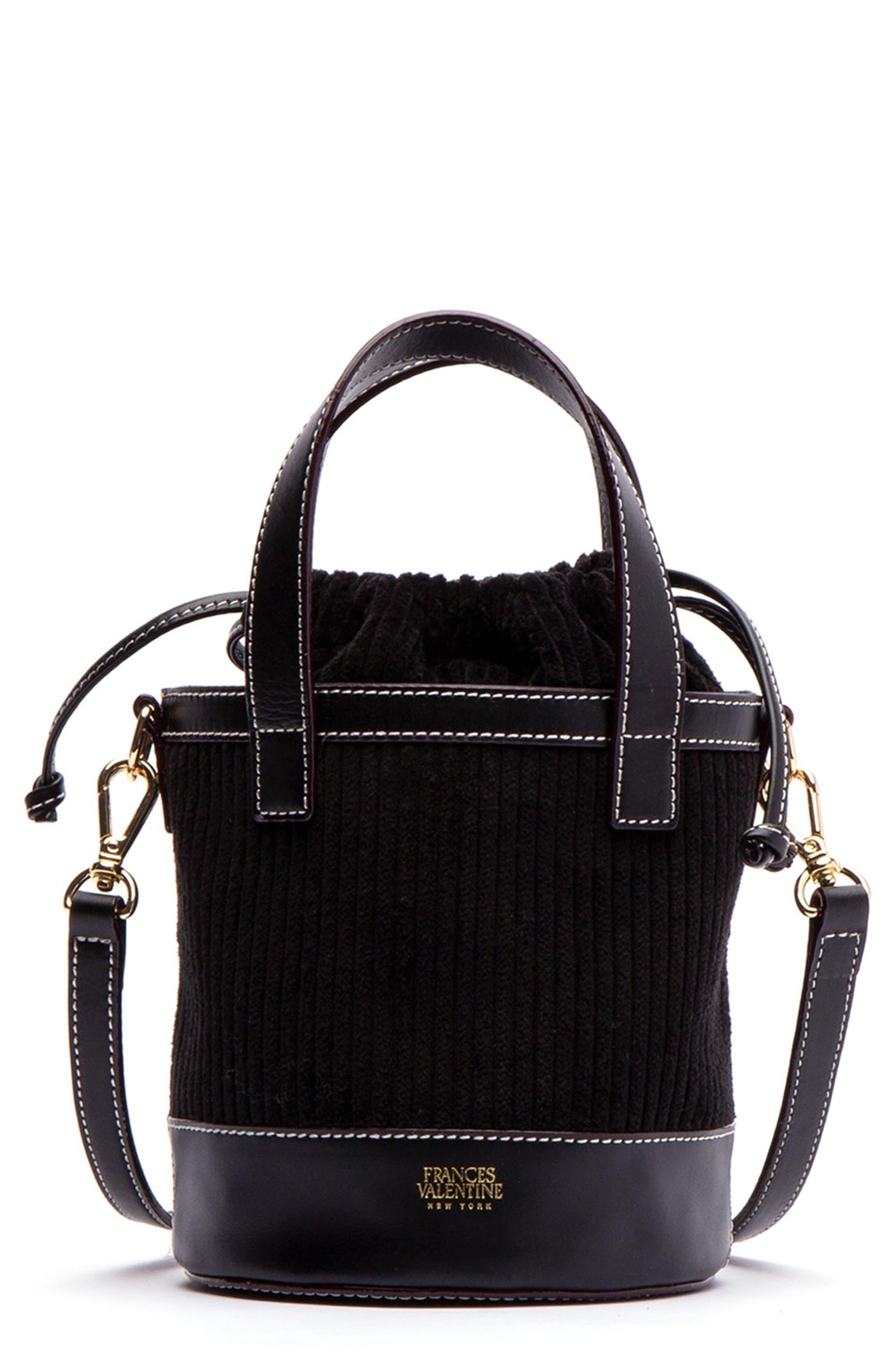 Small Corduroy Bucket Bag,                             Main thumbnail 1, color,                             BLACK