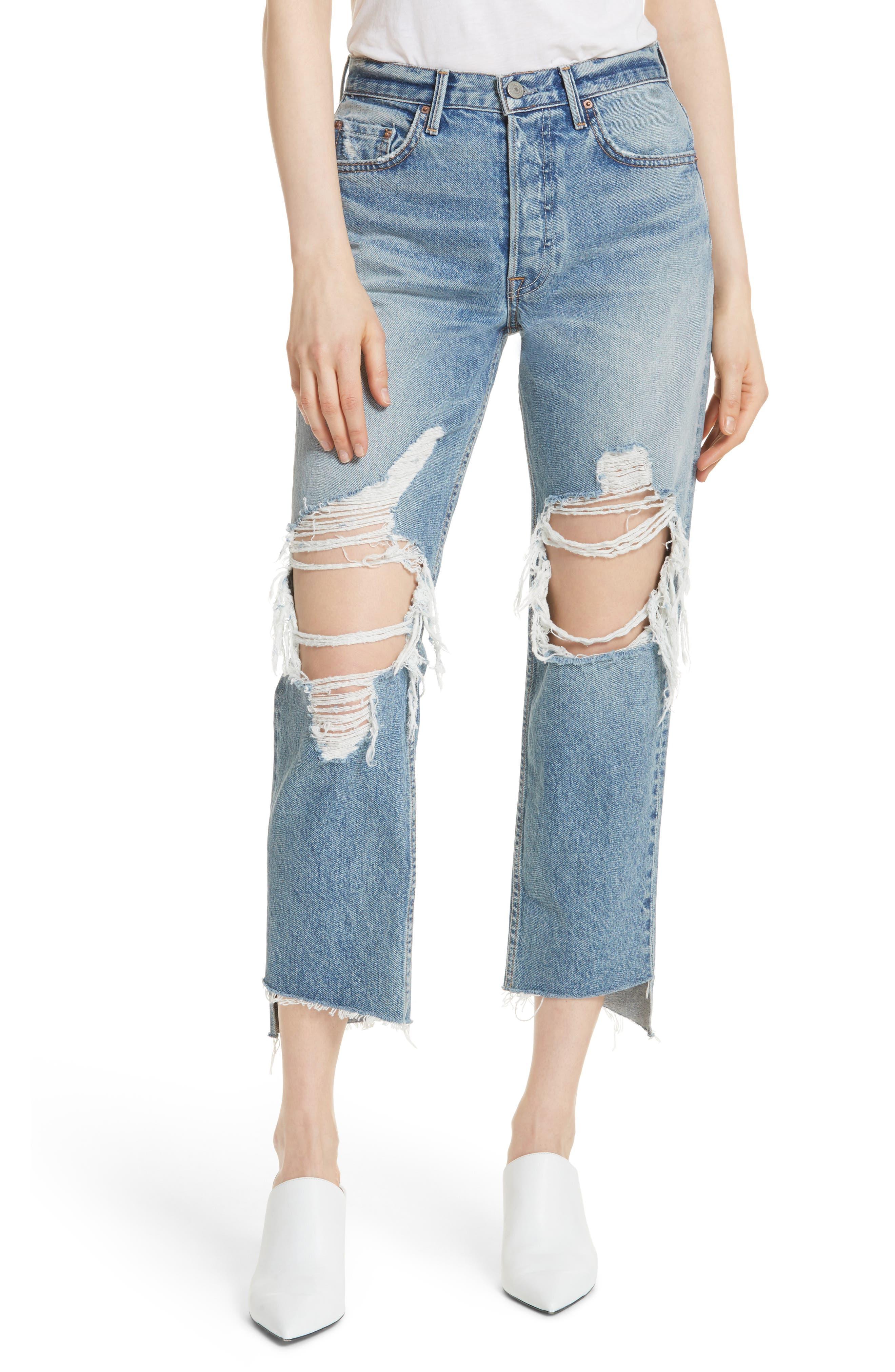 Helena Ripped Rigid High Waist Straight Jeans,                             Main thumbnail 1, color,                             487