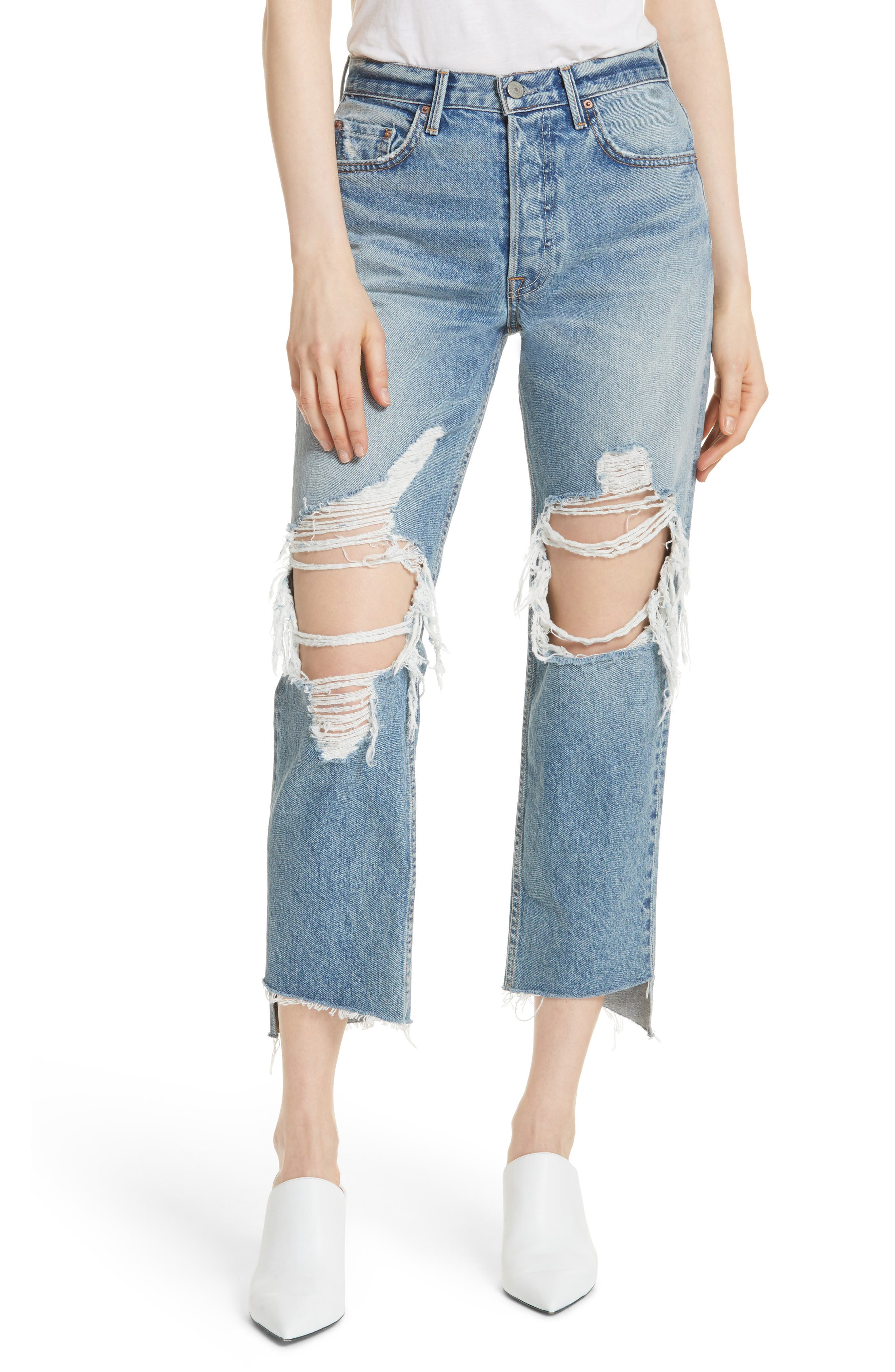 Helena Ripped Rigid High Waist Straight Jeans,                         Main,                         color, 487