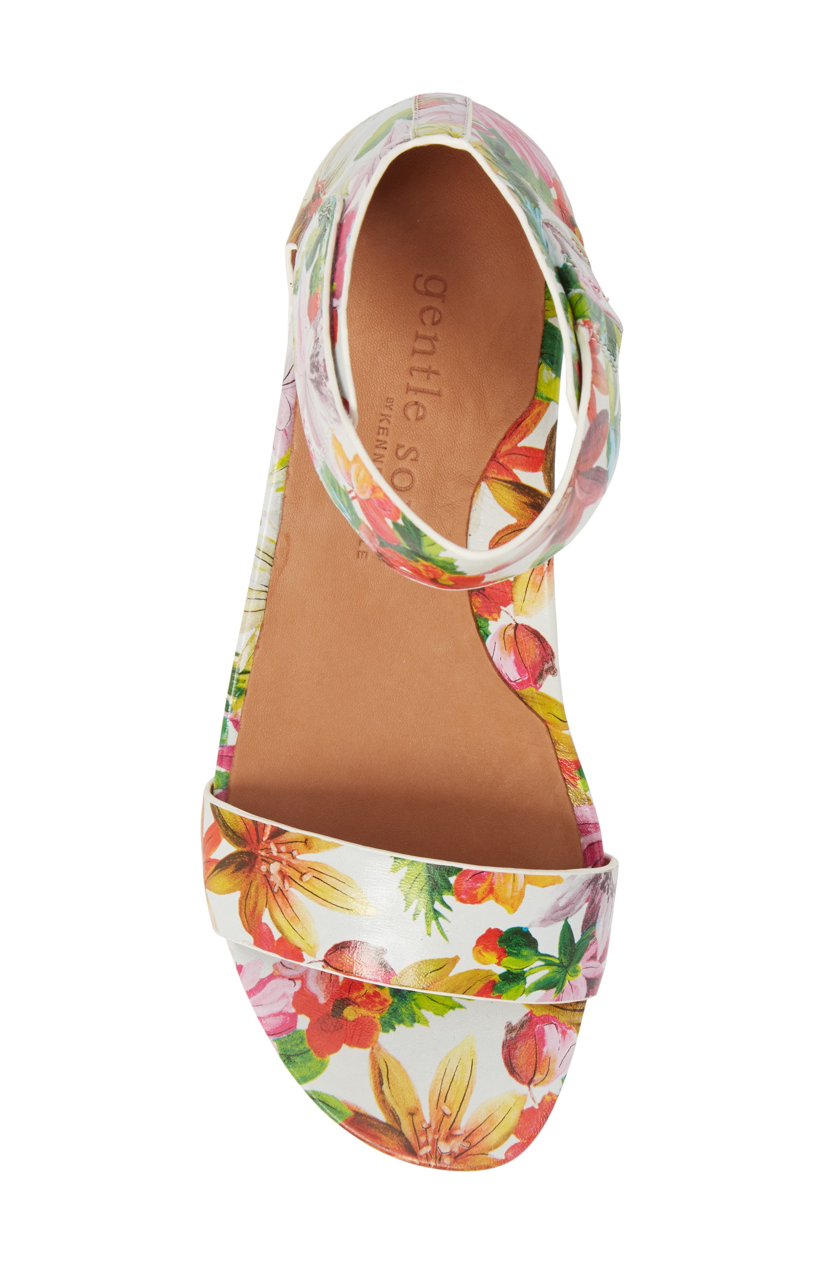 Gentle Souls by Kenneth Cole Gianna Wedge Sandal,                             Alternate thumbnail 5, color,                             PALM PRINTED LEATHER