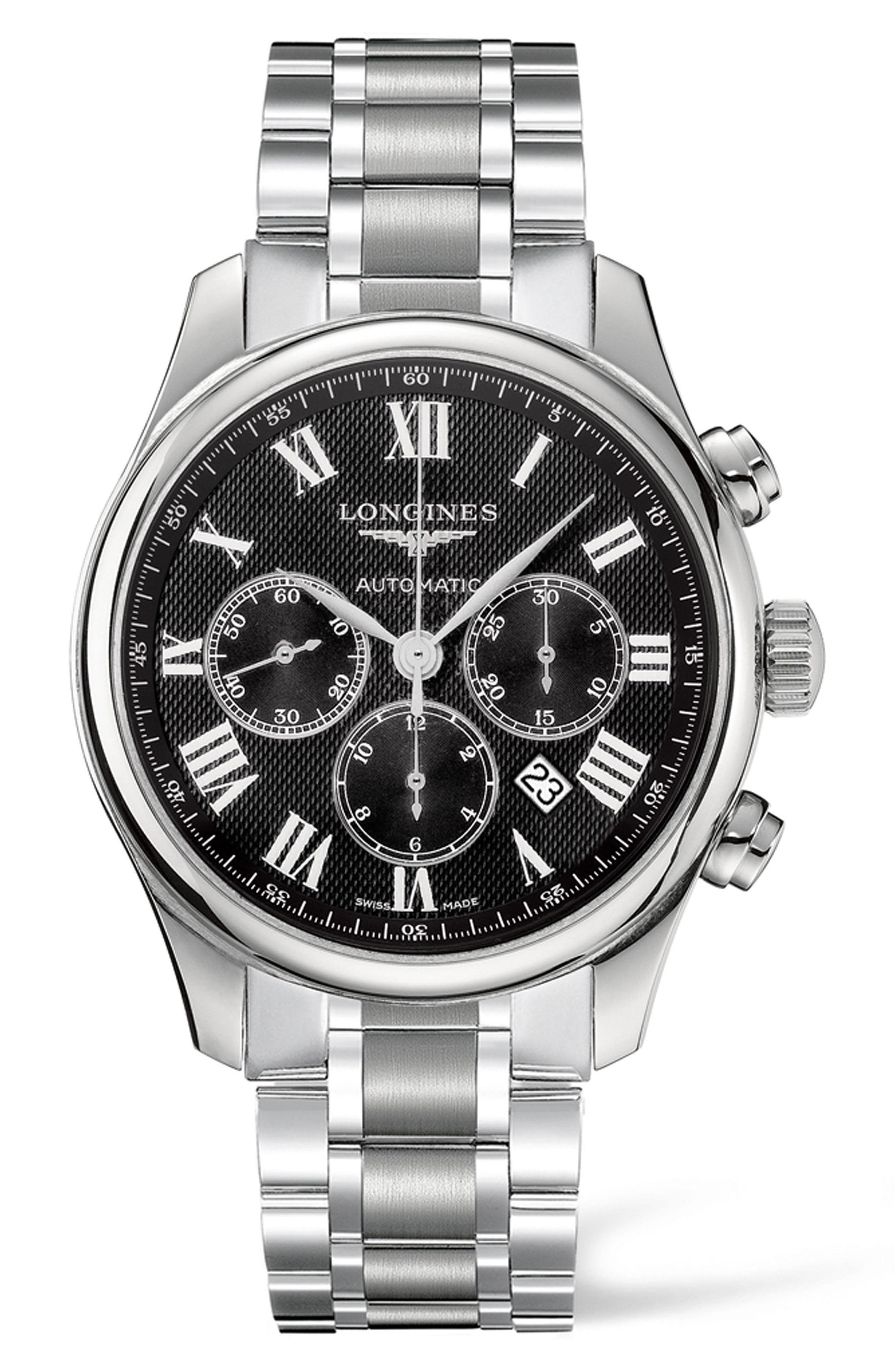 Master Automatic Chronograph Bracelet Watch, 44mm,                         Main,                         color, SILVER/ BLACK/ SILVER