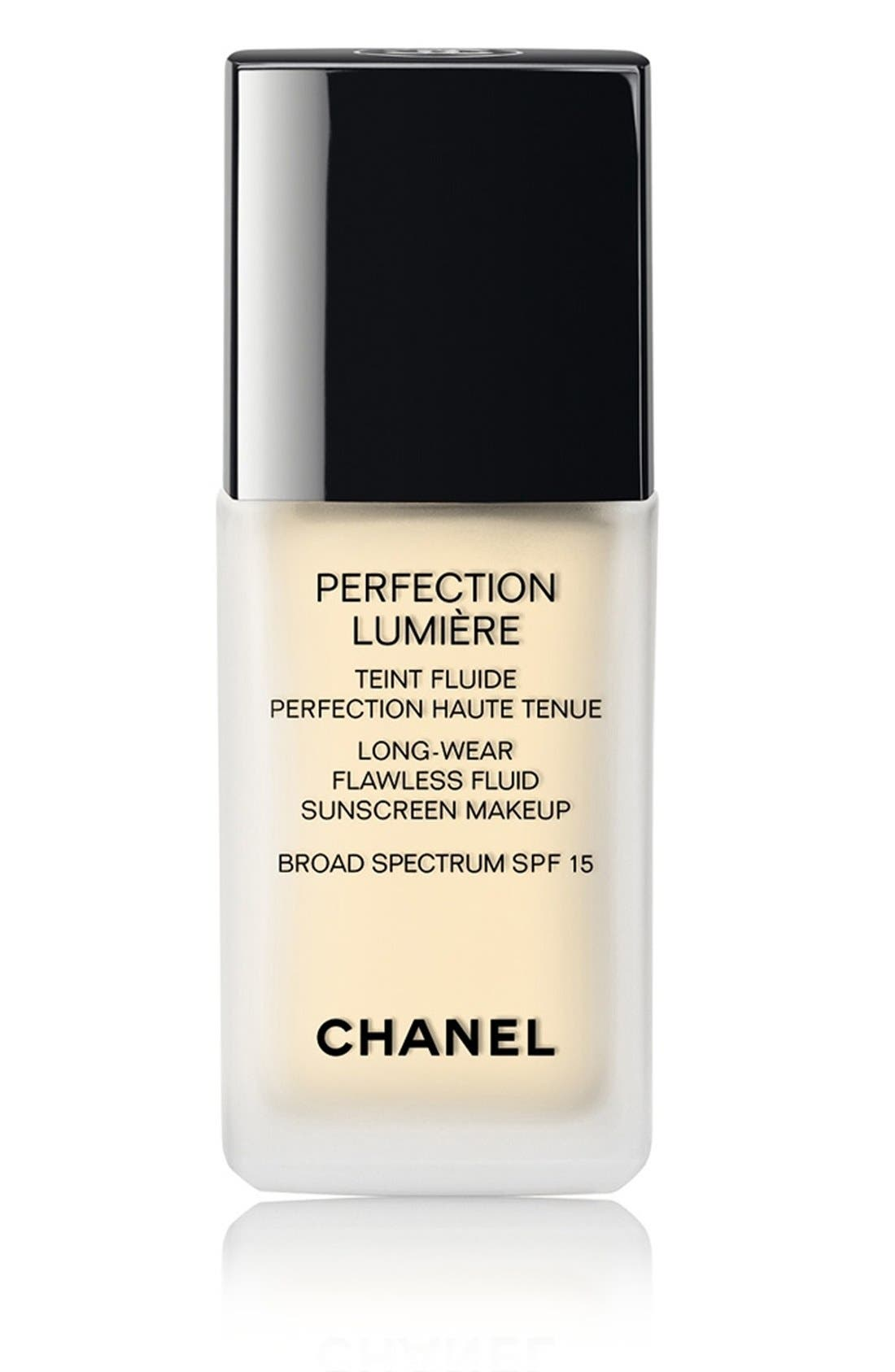 CHANEL PERFECTION LUMIÈRE<br />Long-Wear Flawless Fluid Sunscreen Makeup Broad Spectrum SPF 15, Main, color, 010
