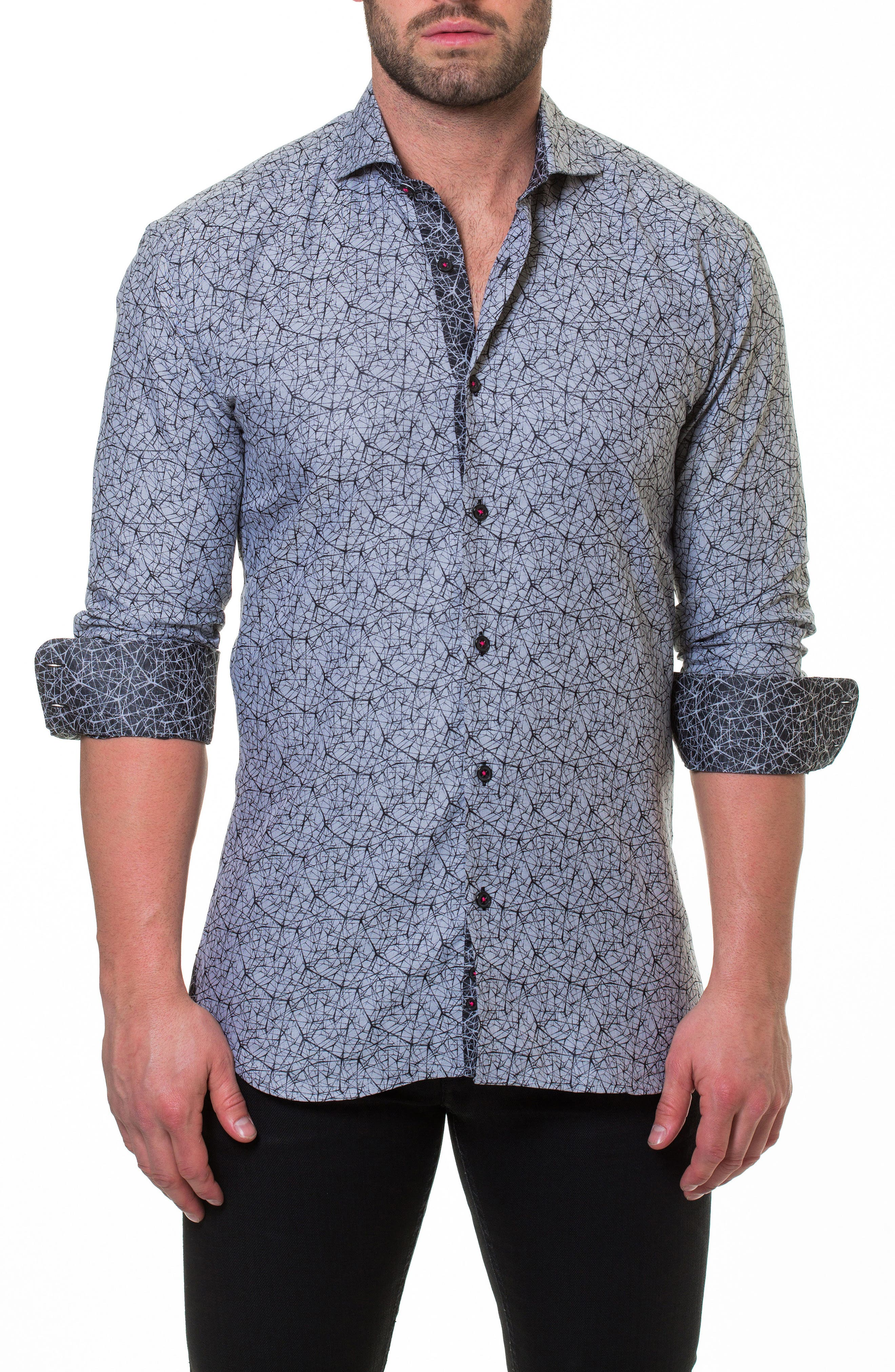Wall Street Electric Grey Slim Fit Sport Shirt,                         Main,                         color,