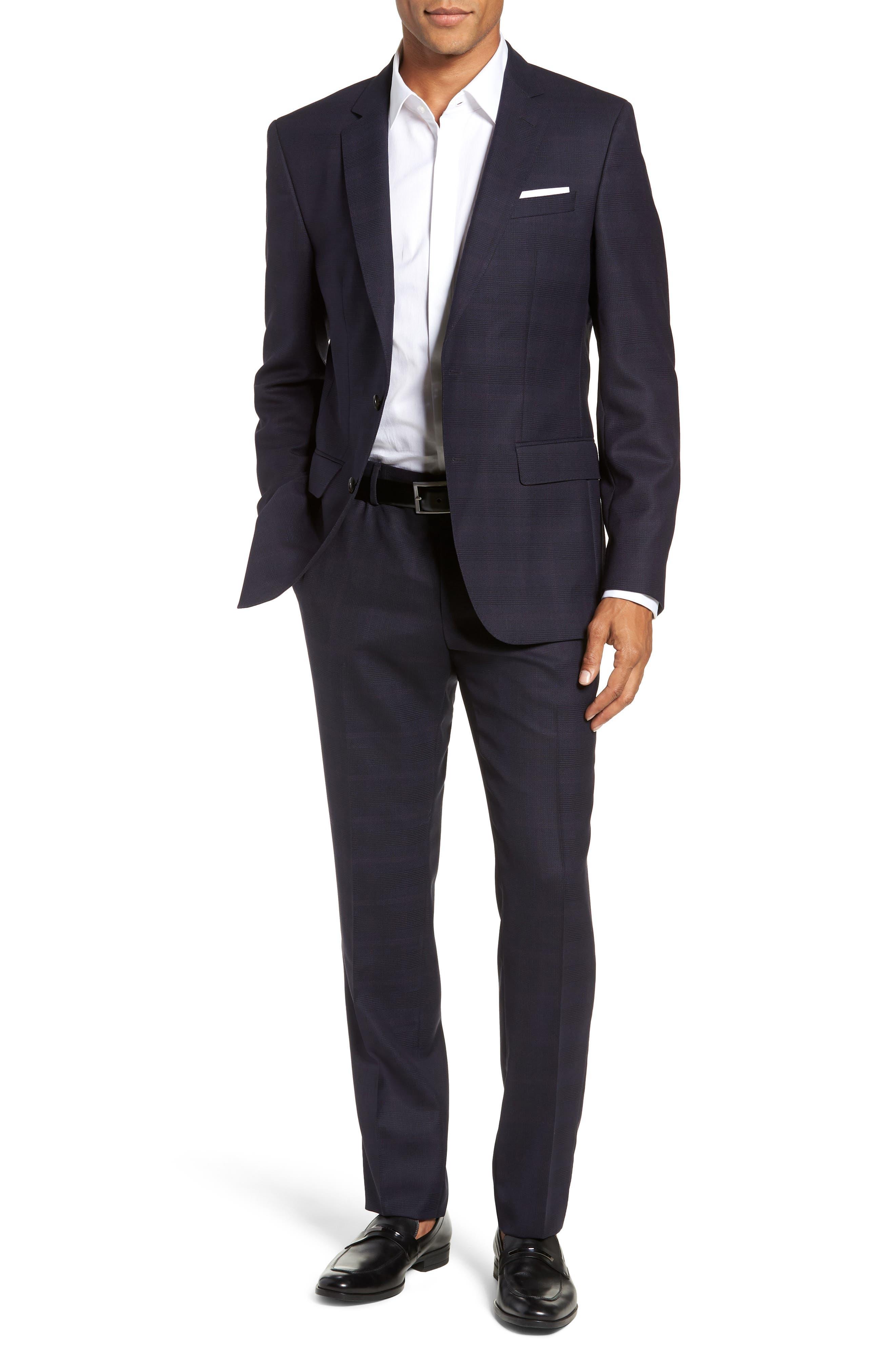 x Nordstrom Huge/Genius Trim Fit Plaid Wool Suit,                             Alternate thumbnail 7, color,                             NAVY