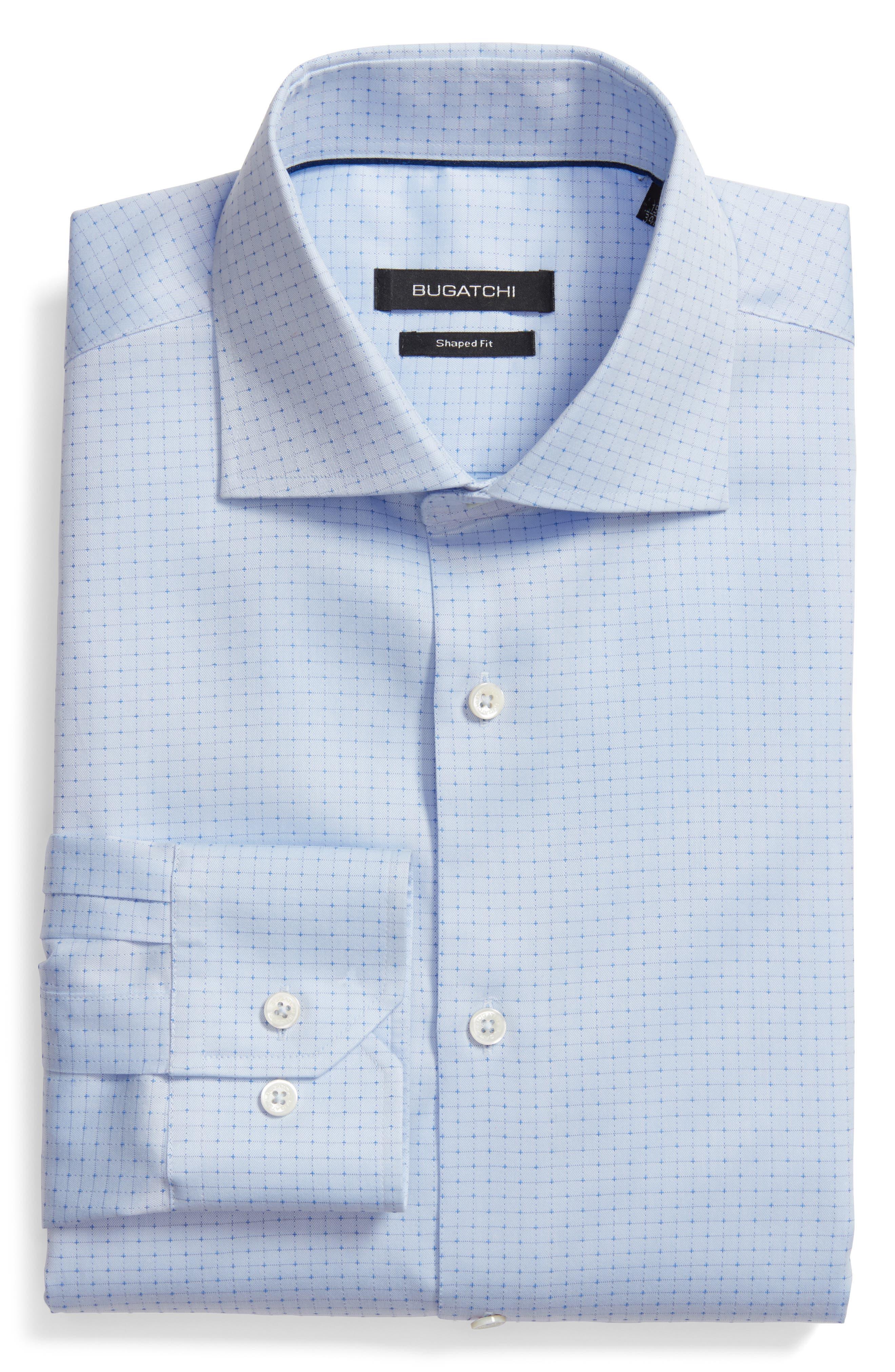 Shaped Fit Pattern Dress Shirt,                             Main thumbnail 1, color,