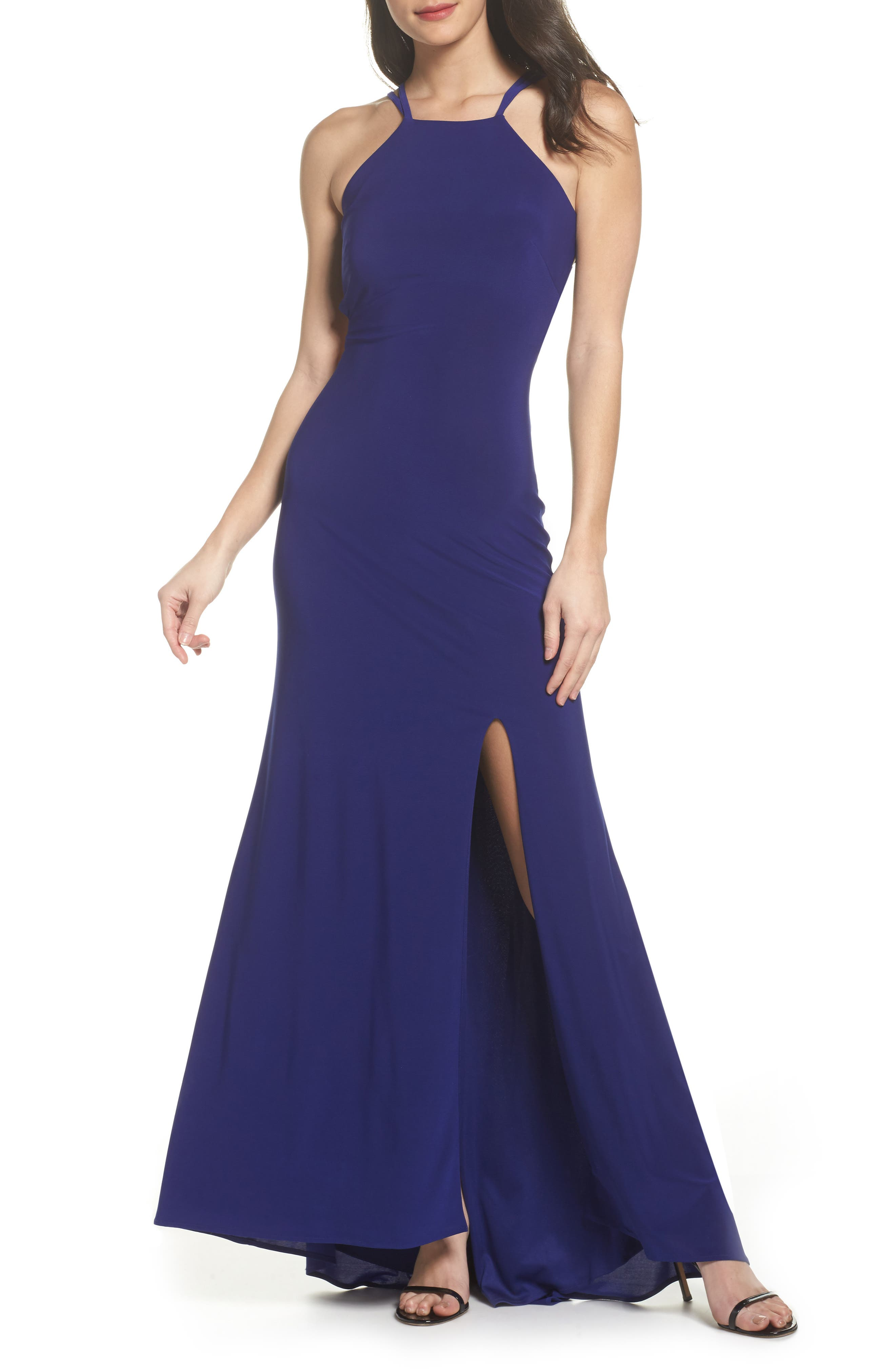 MORGAN & CO.,                             Strappy Trumpet Gown,                             Main thumbnail 1, color,                             ELECTRIC BLUE