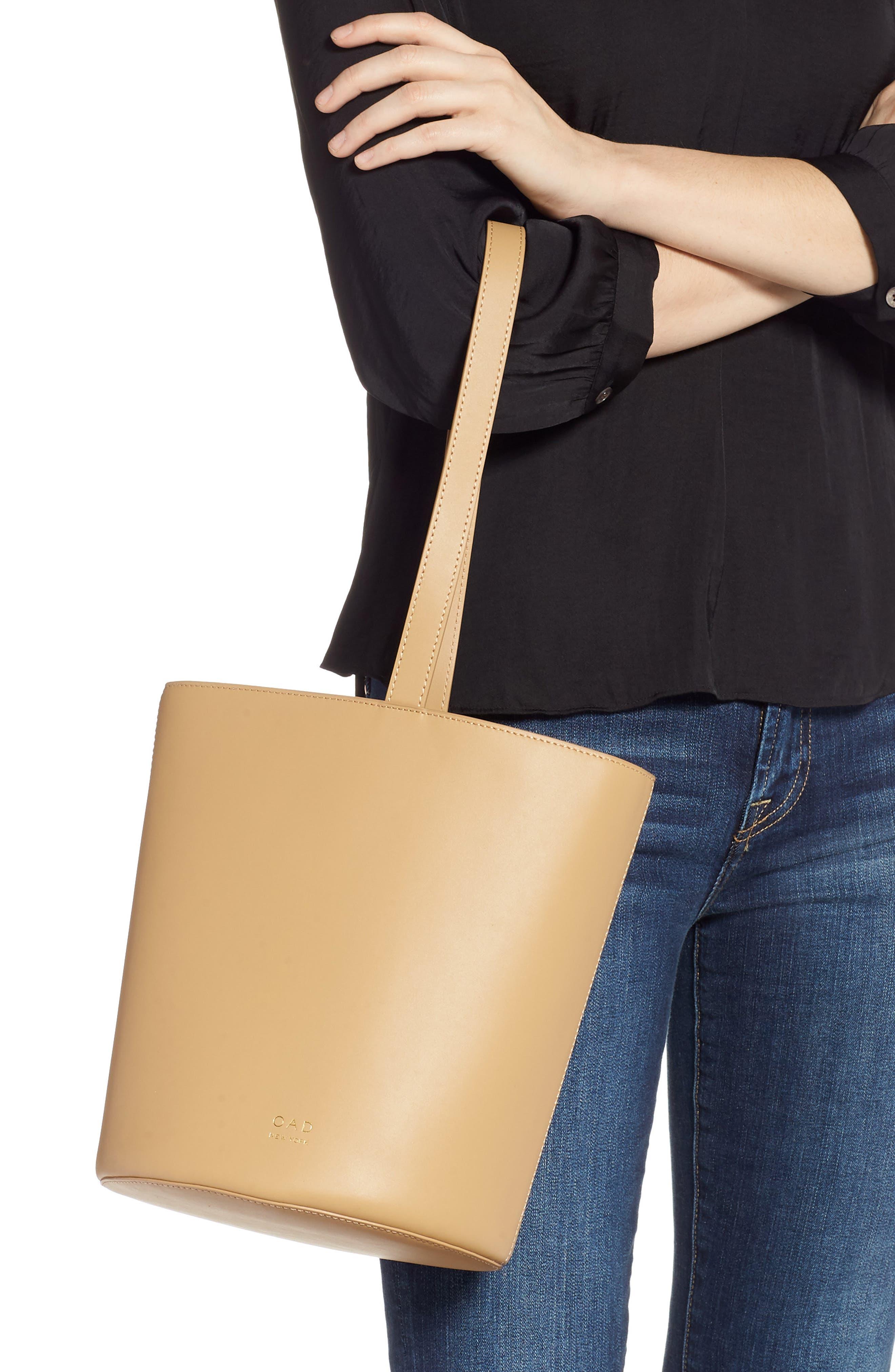 Dome Leather Bucket Bag,                             Alternate thumbnail 3, color,                             LIGHT CAMEL
