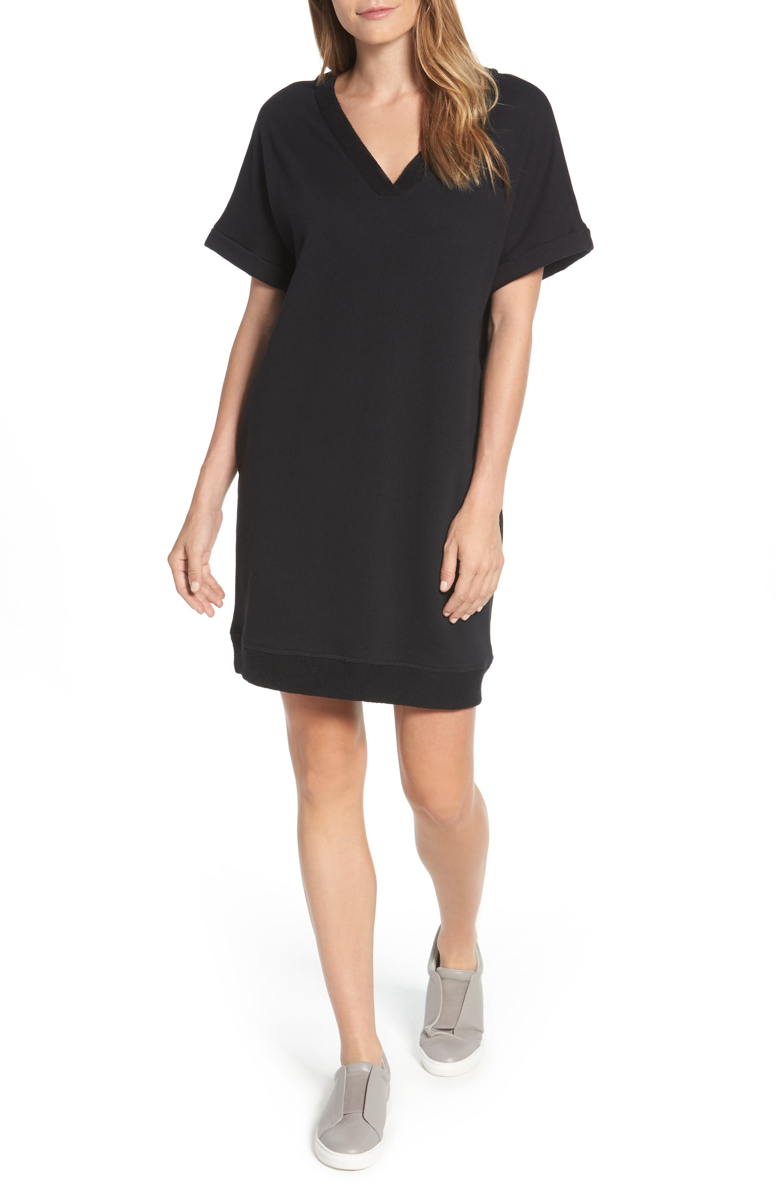 CASLON<SUP>®</SUP> Off-Duty French Terry Dress, Main, color, 001
