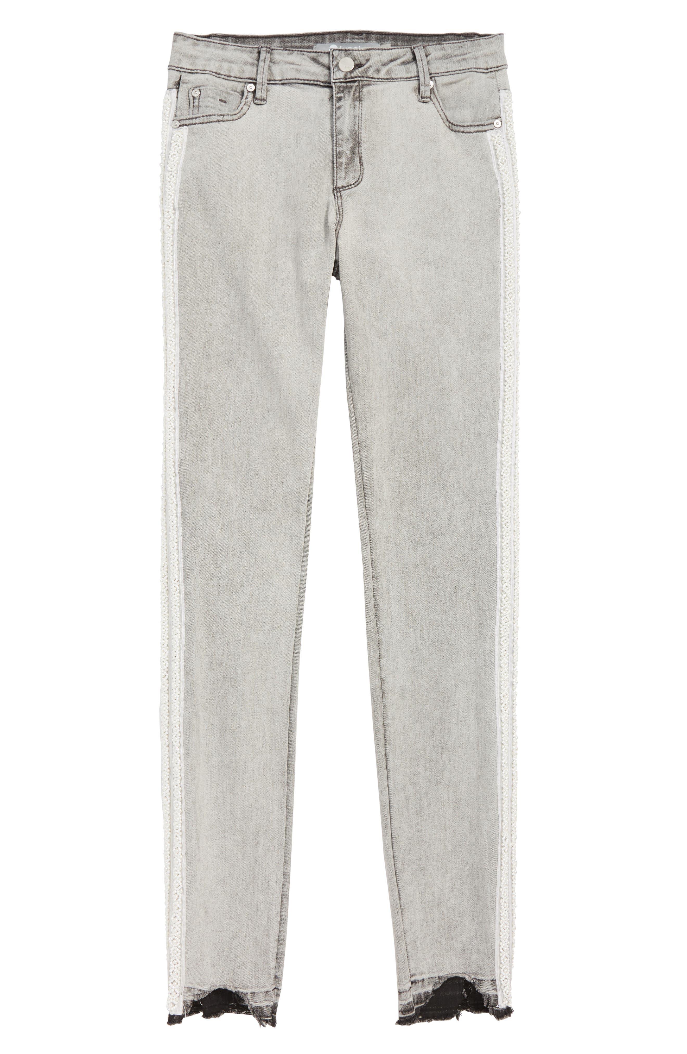 Embellished Tuxedo Stripe Skinny Jeans,                             Main thumbnail 1, color,                             CHARCOAL