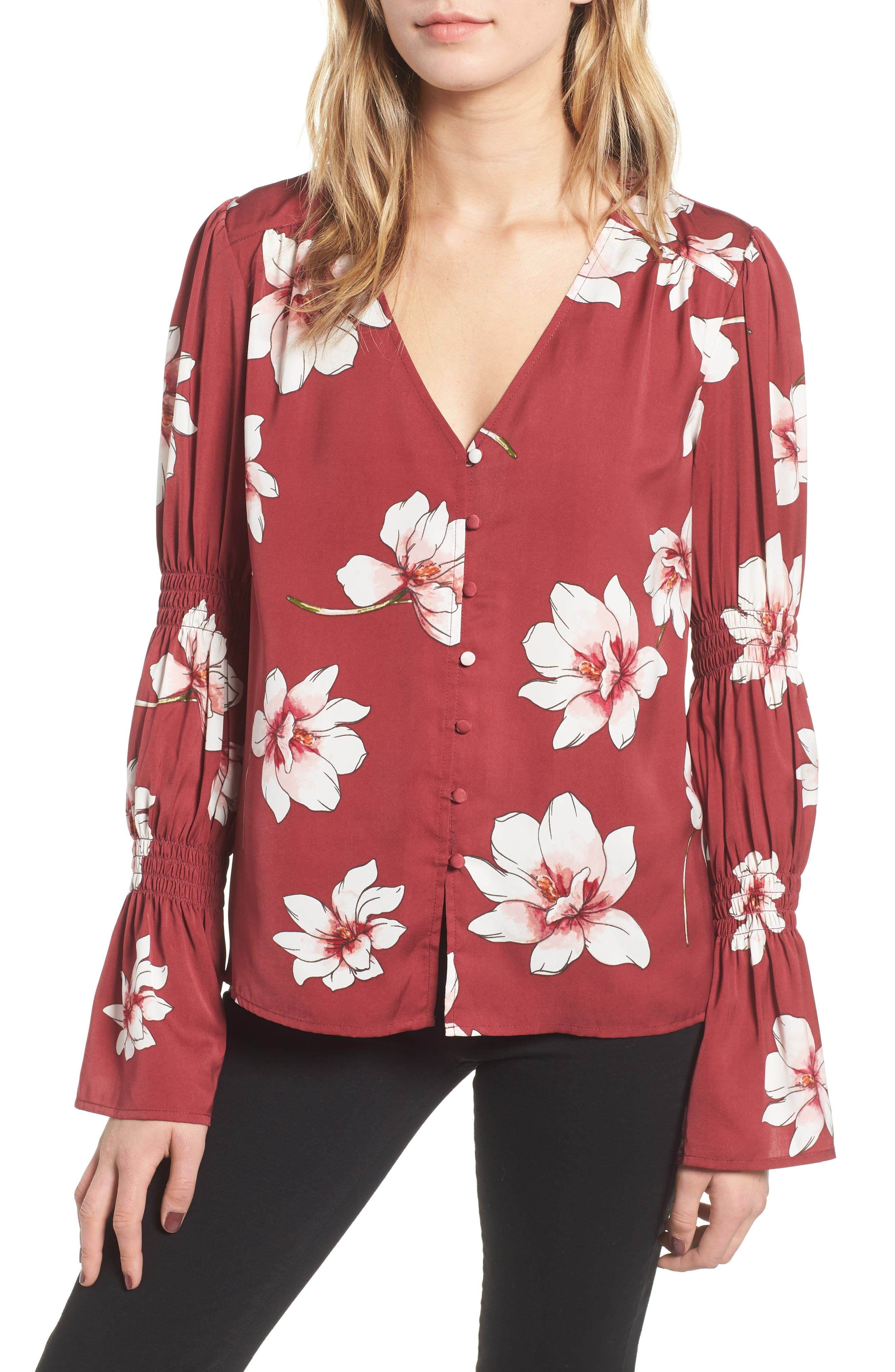 CUPCAKES AND CASHMERE Christa Floral-Print Button-Down Top in Earth Red