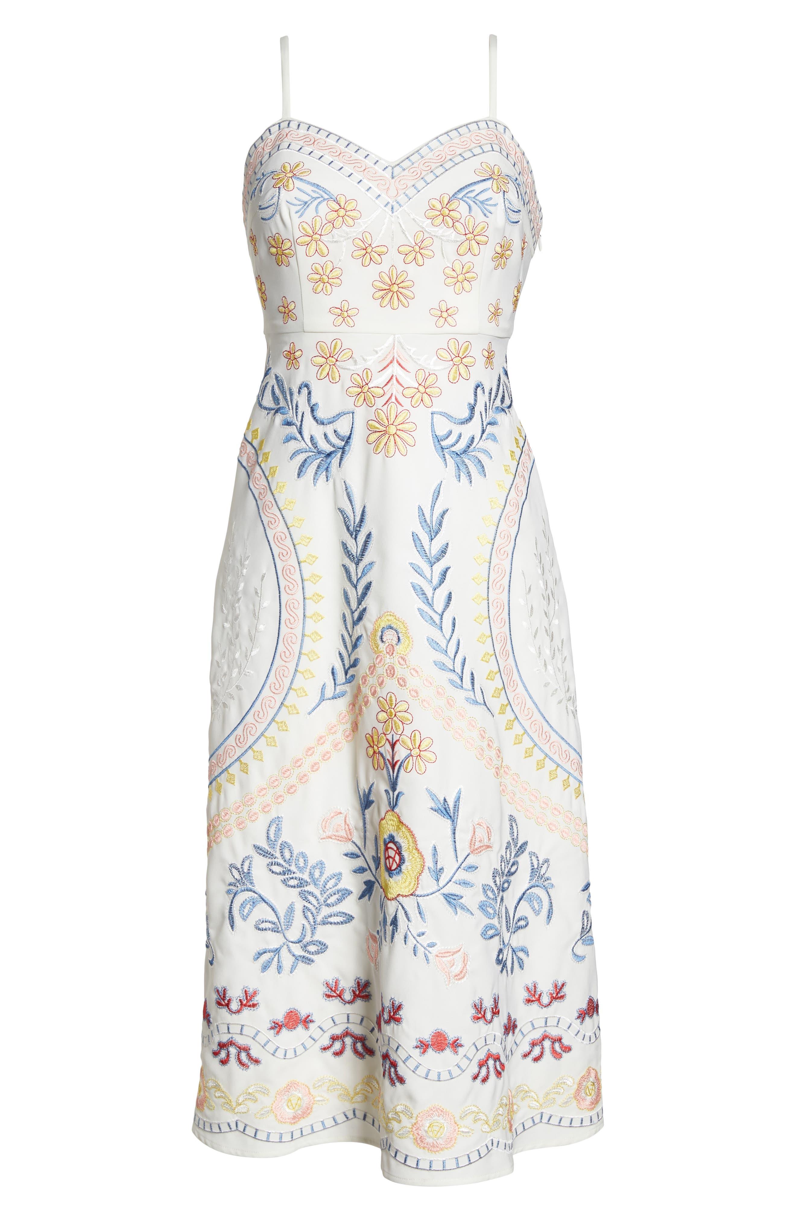Artemisia Tea Length Dress,                             Alternate thumbnail 7, color,                             WHITE MULTI