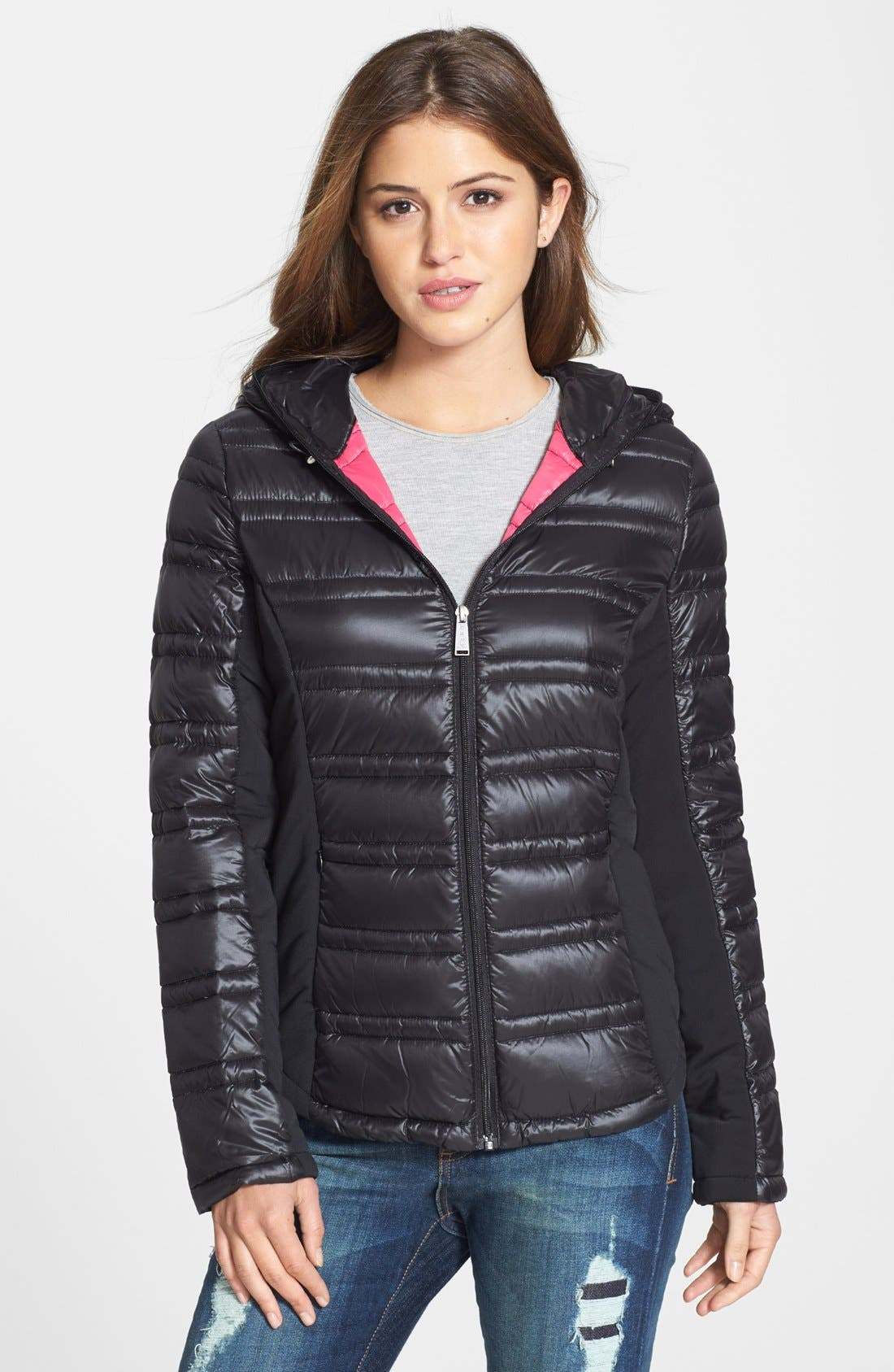 Hooded Packable Down Jacket, Main, color, 001