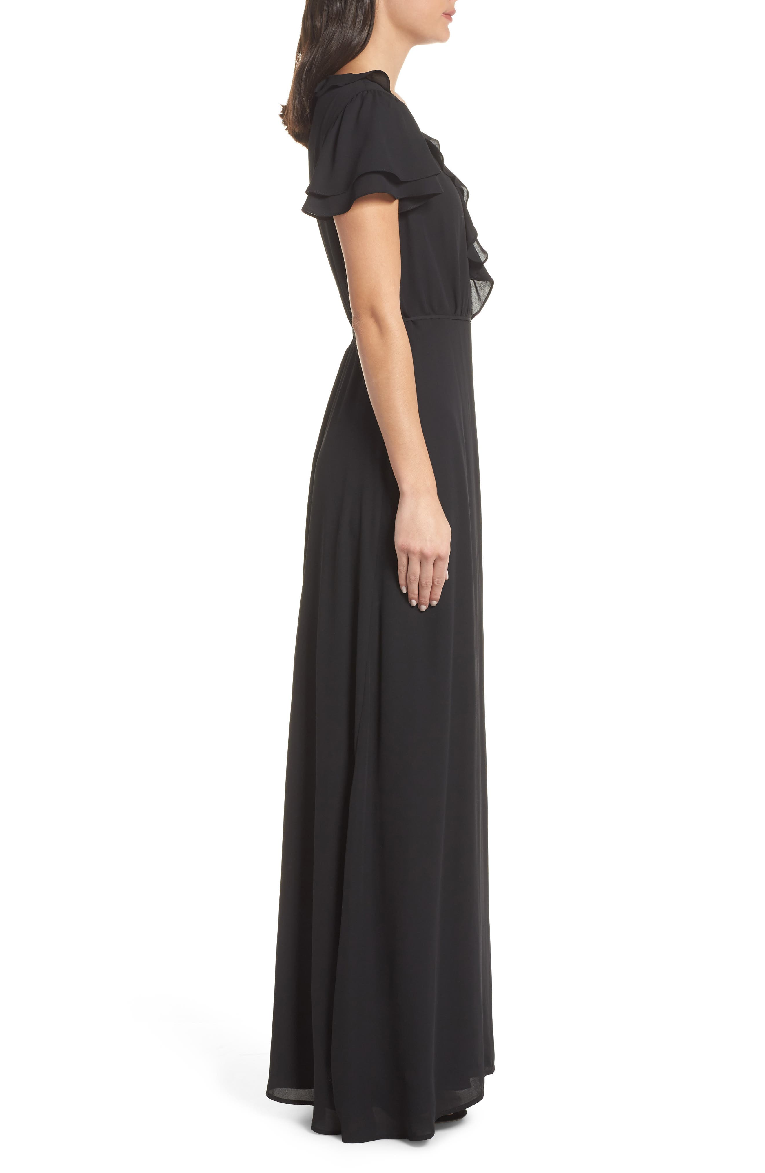 WAYF,                             The Evaline Flutter Ruffle Wrap Gown,                             Alternate thumbnail 4, color,                             BLACK