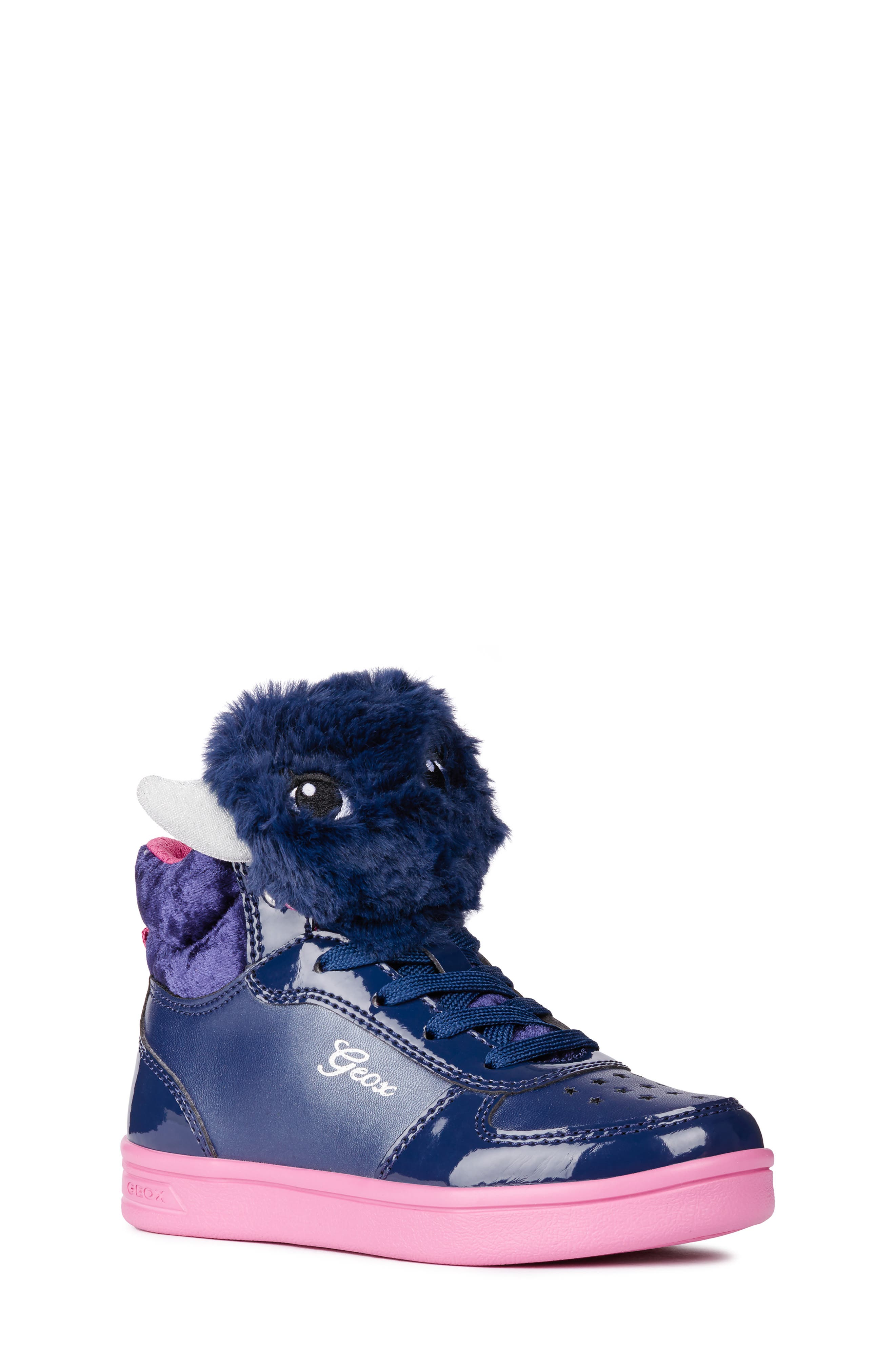 DJ Rock Fuzzy Friend Sneaker,                         Main,                         color, NAVY/FUCHSIA