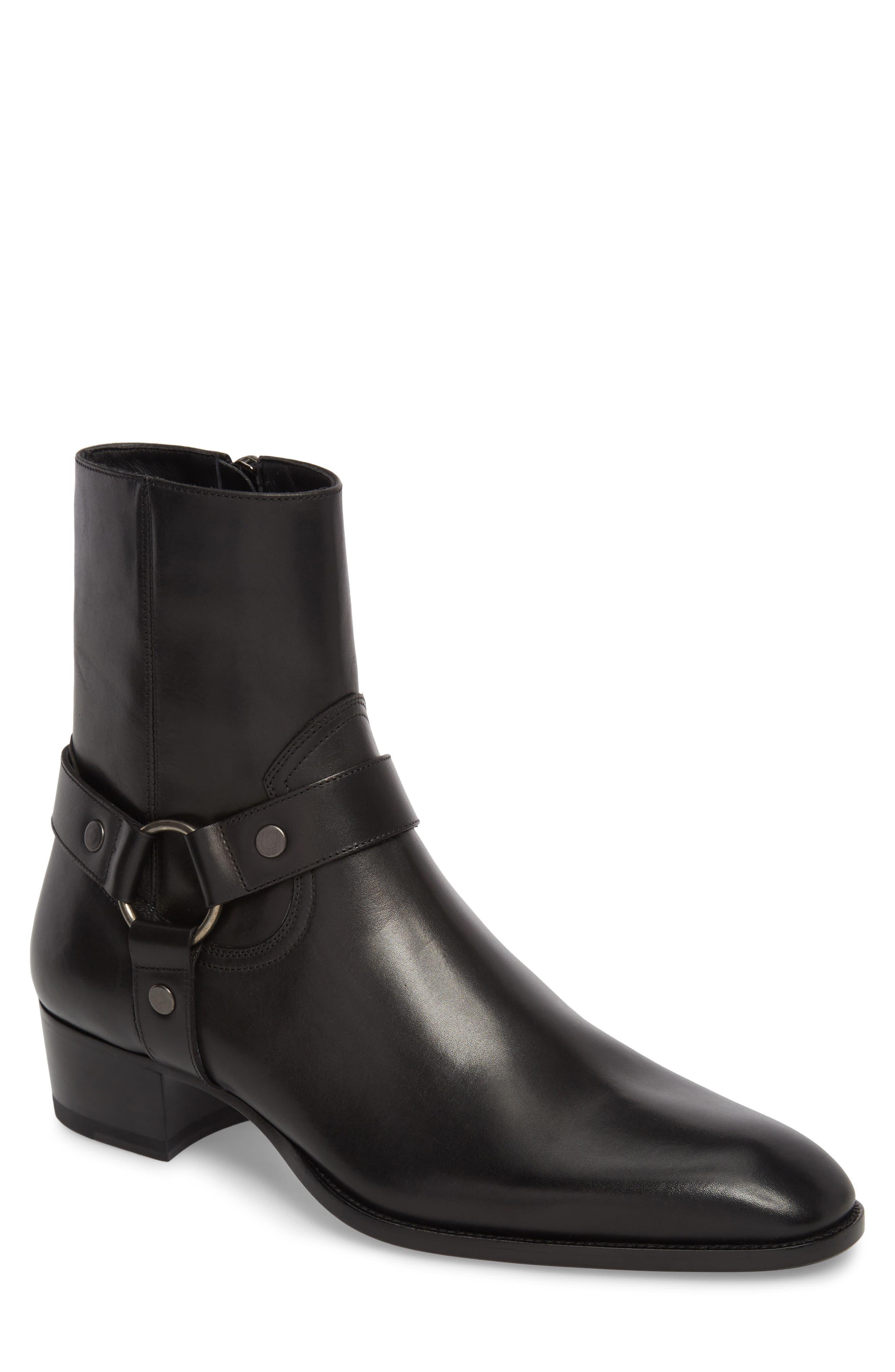 Men'S Wyatt Leather Harness Boots in Coal