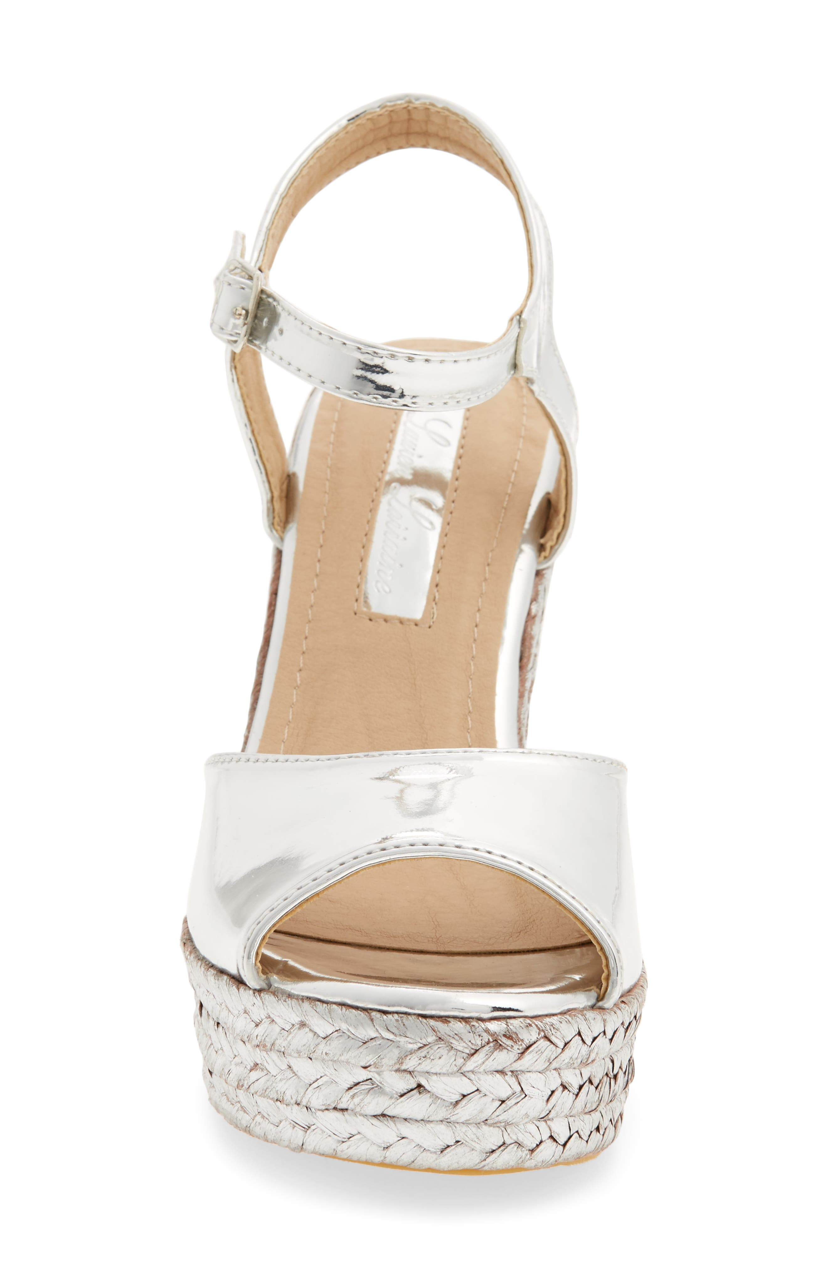Lina Platform Wedge Sandal,                             Alternate thumbnail 4, color,                             SILVER