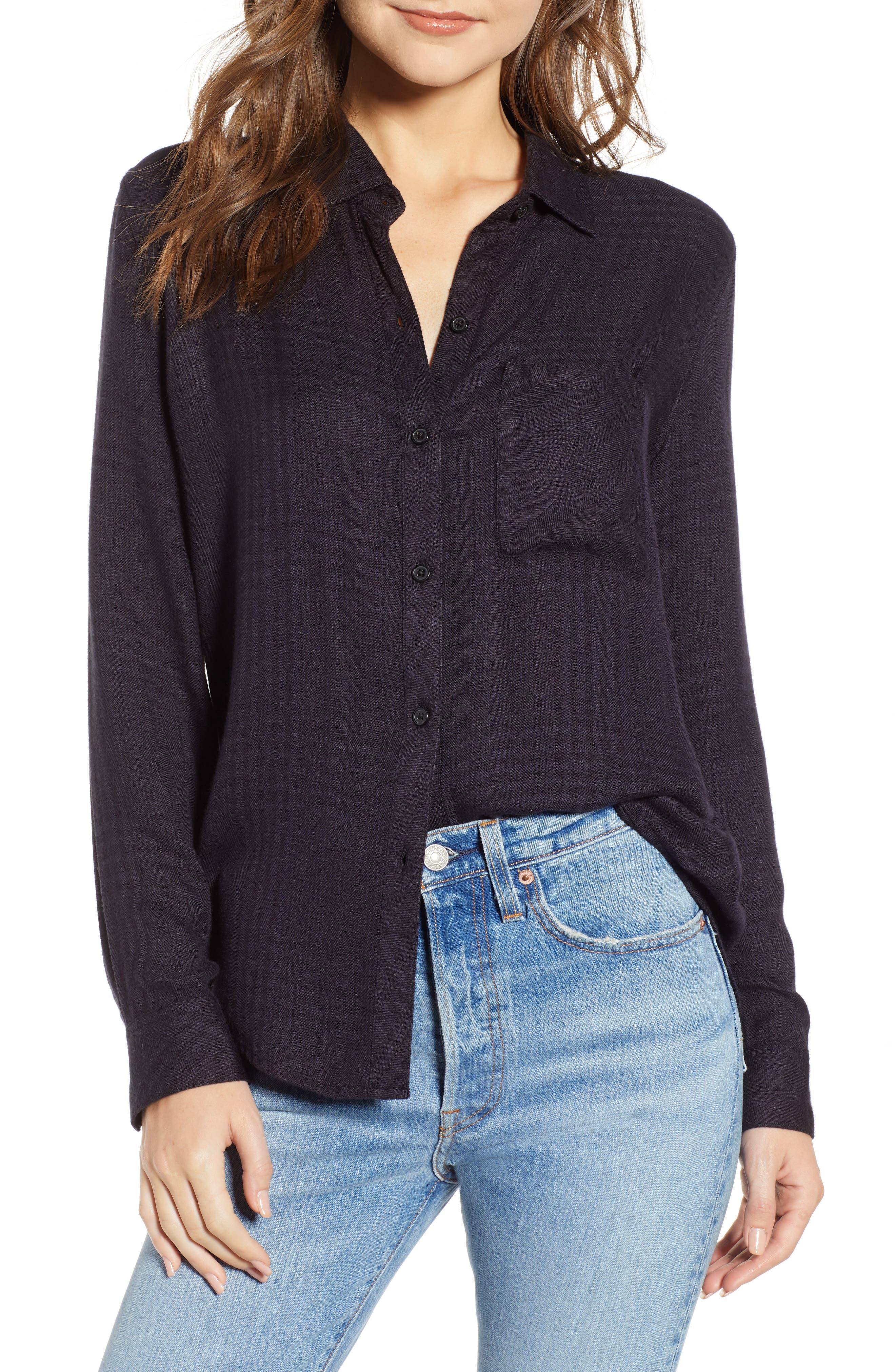Hunter Plaid Shirt,                         Main,                         color, CHARCOAL SHADOW