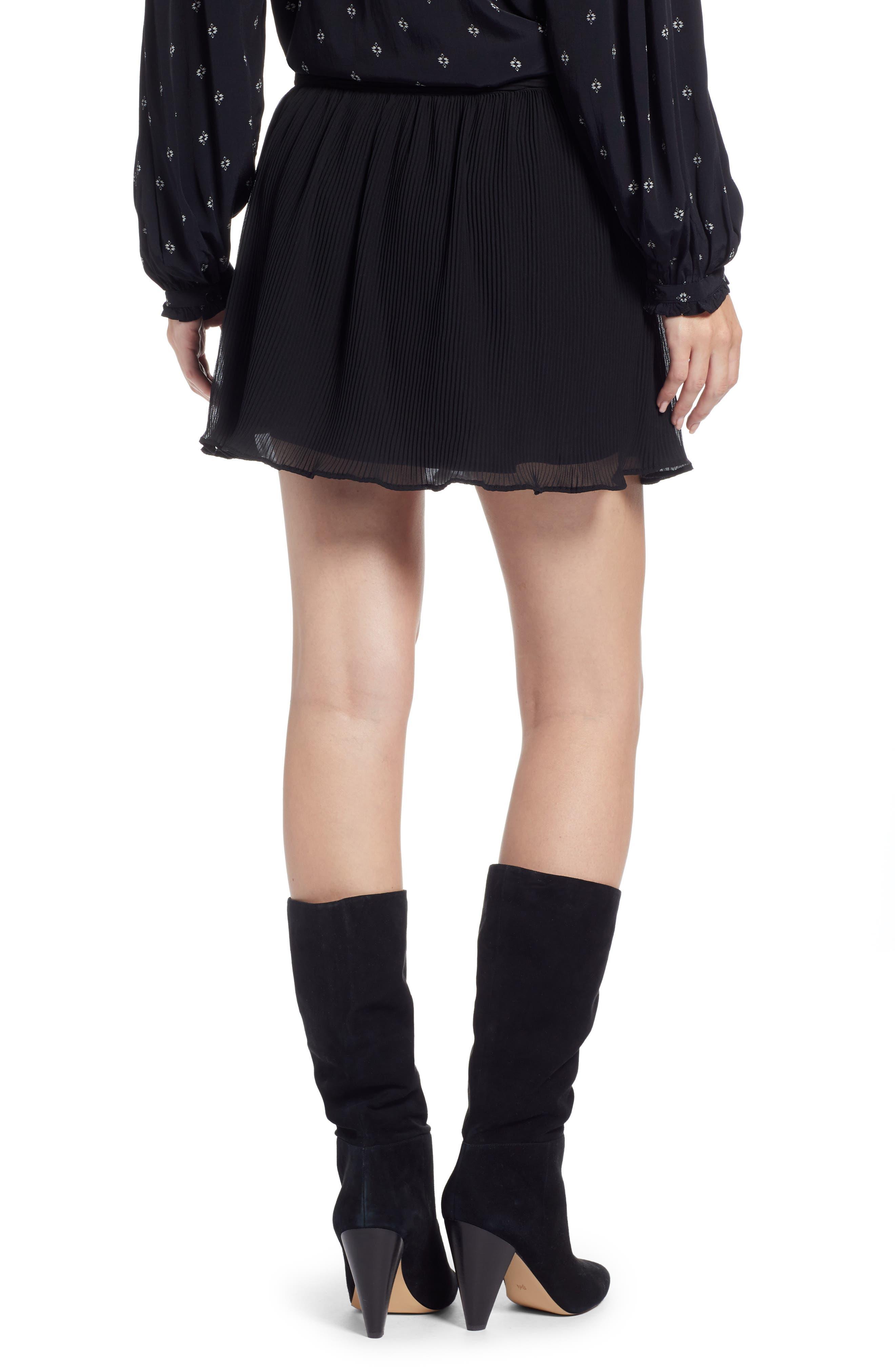 Pleated Flounce Miniskirt,                             Alternate thumbnail 3, color,                             001