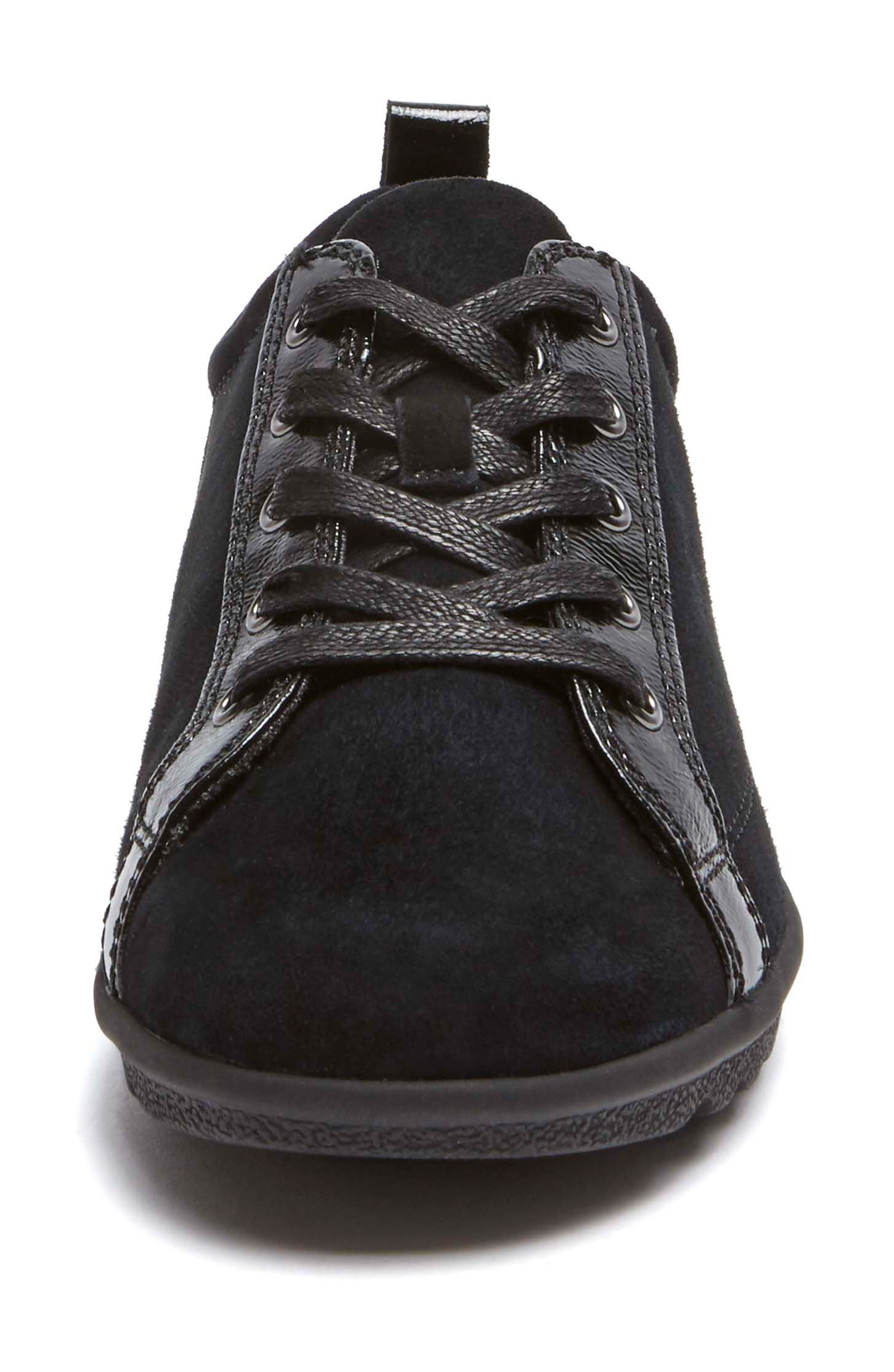 Chenole Wedge Sneaker,                             Alternate thumbnail 4, color,                             BLACK SUEDE