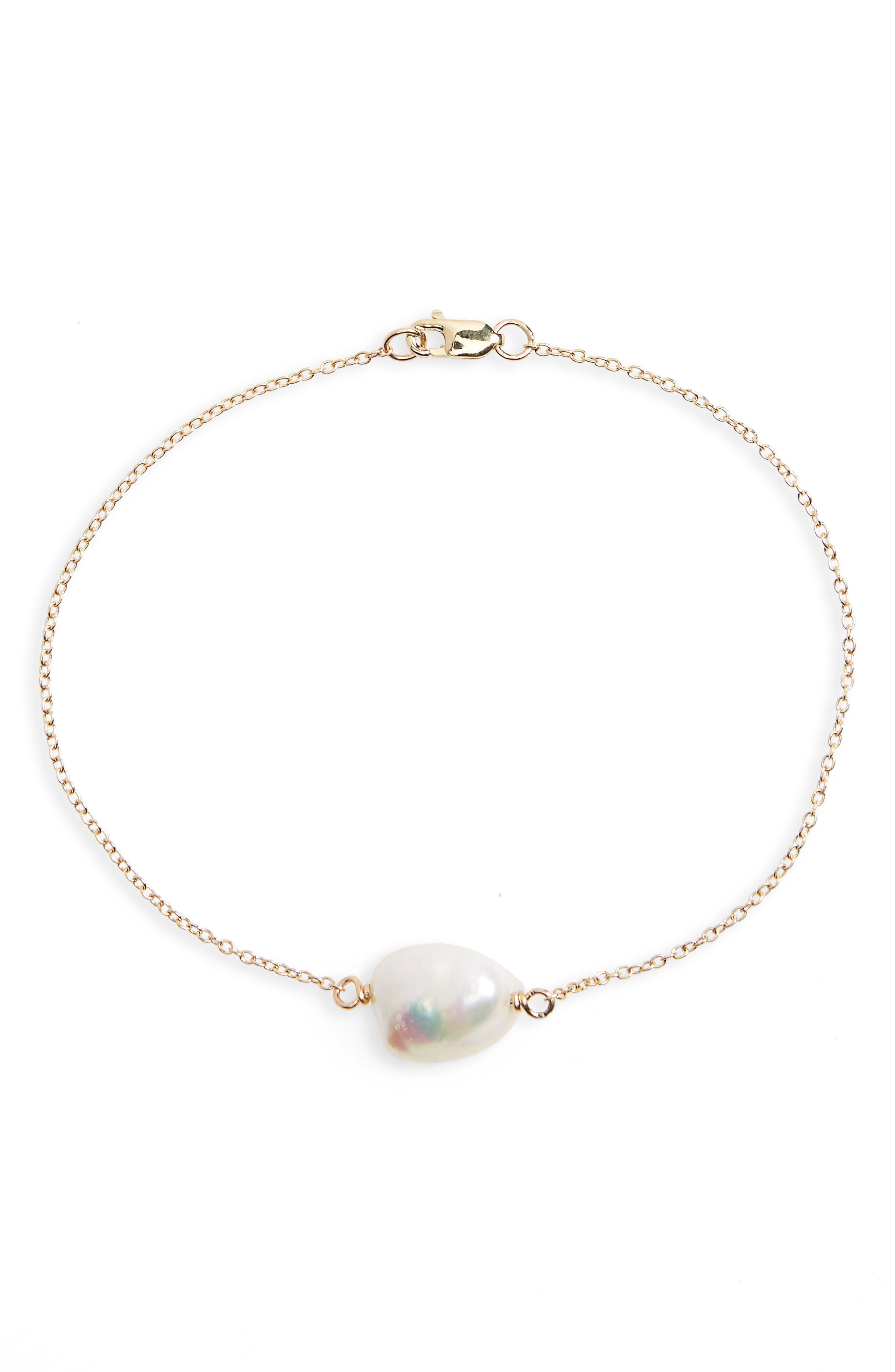 Keshi Cultured Pearl Bracelet,                             Main thumbnail 1, color,                             14K GOLD/ PEARL