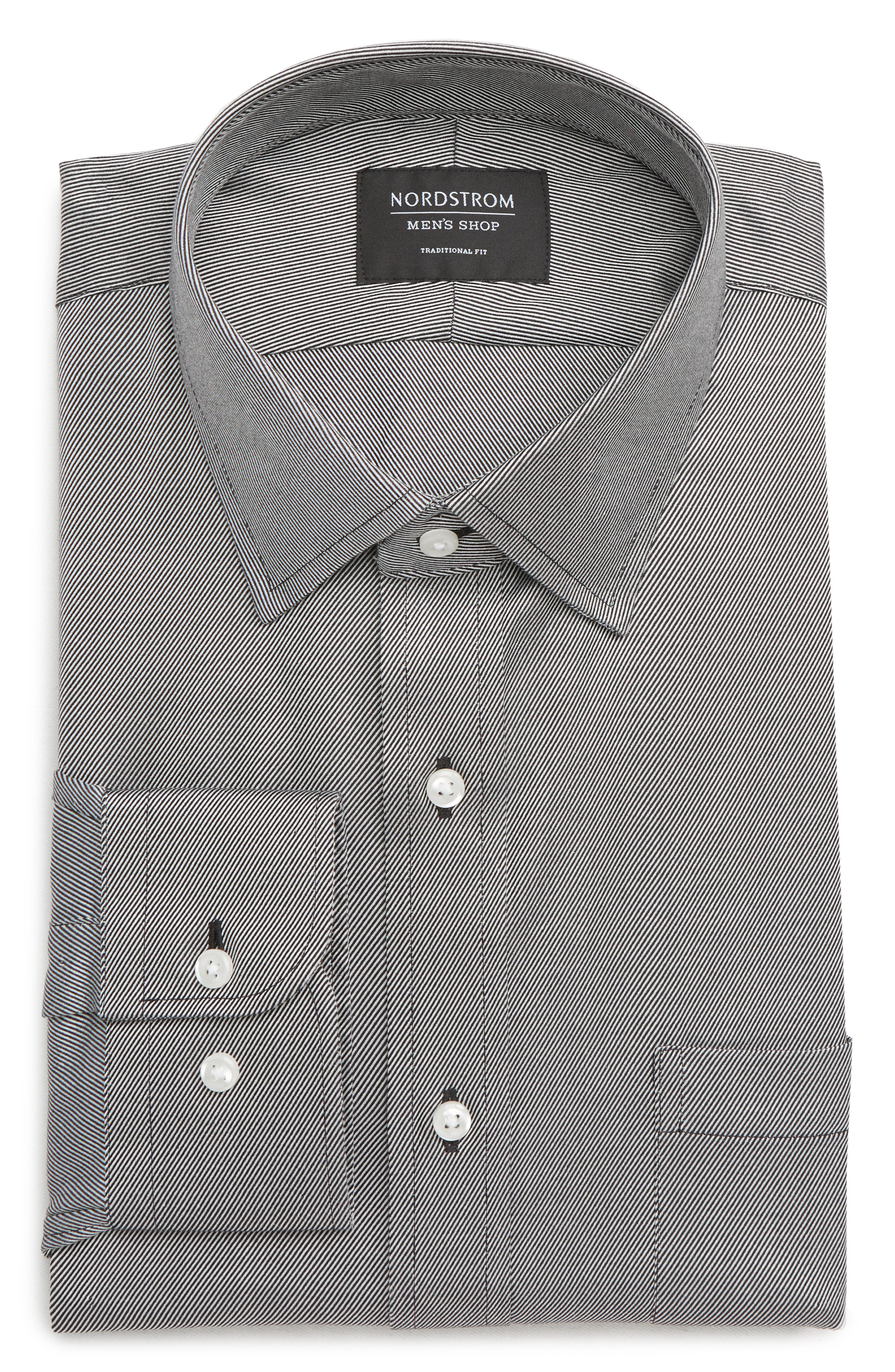 Traditional Fit Solid Dress Shirt,                         Main,                         color, BLACK ROCK