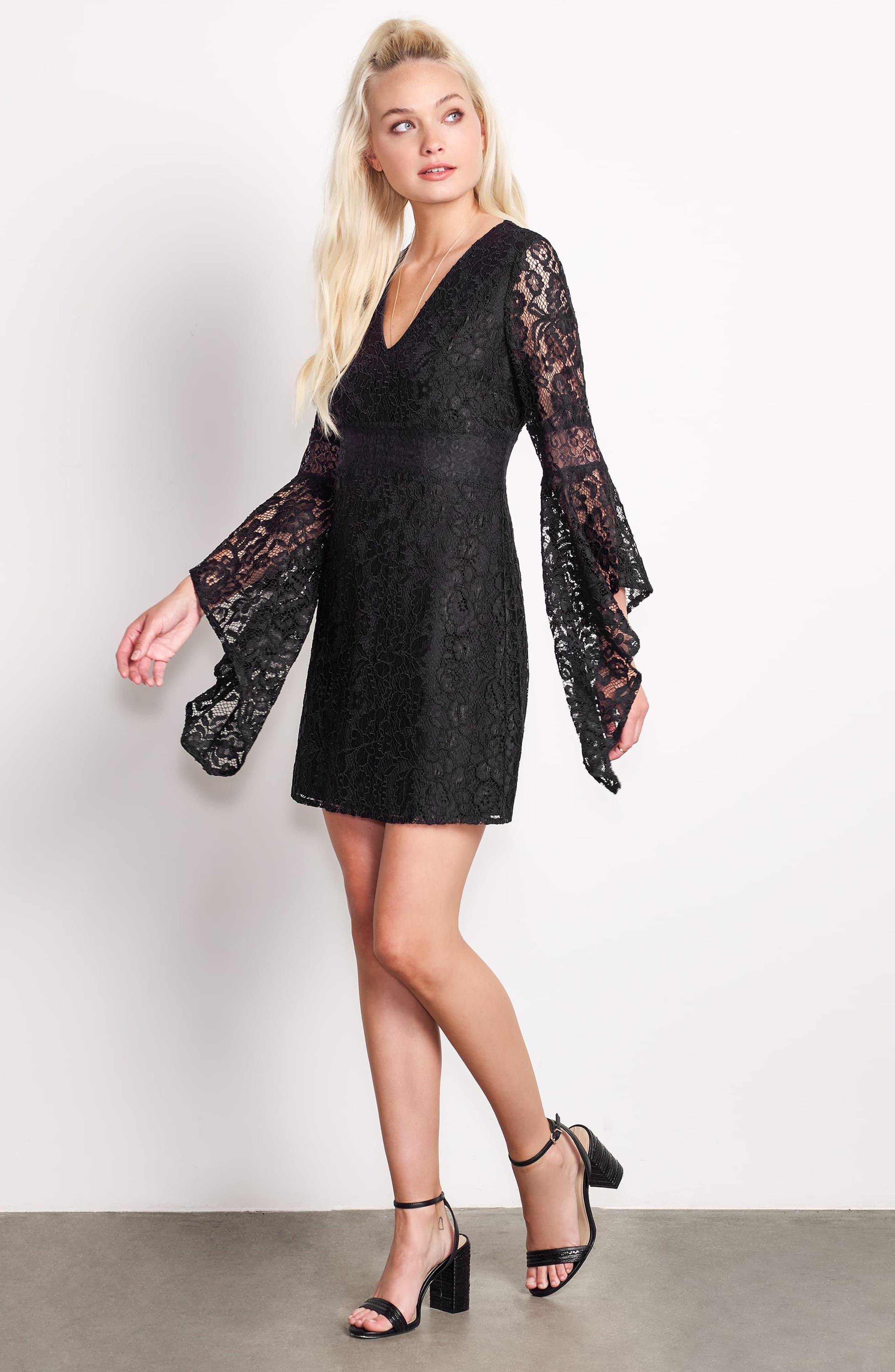 Le Fete Lace Bell Sleeve Dress,                             Alternate thumbnail 7, color,                             001