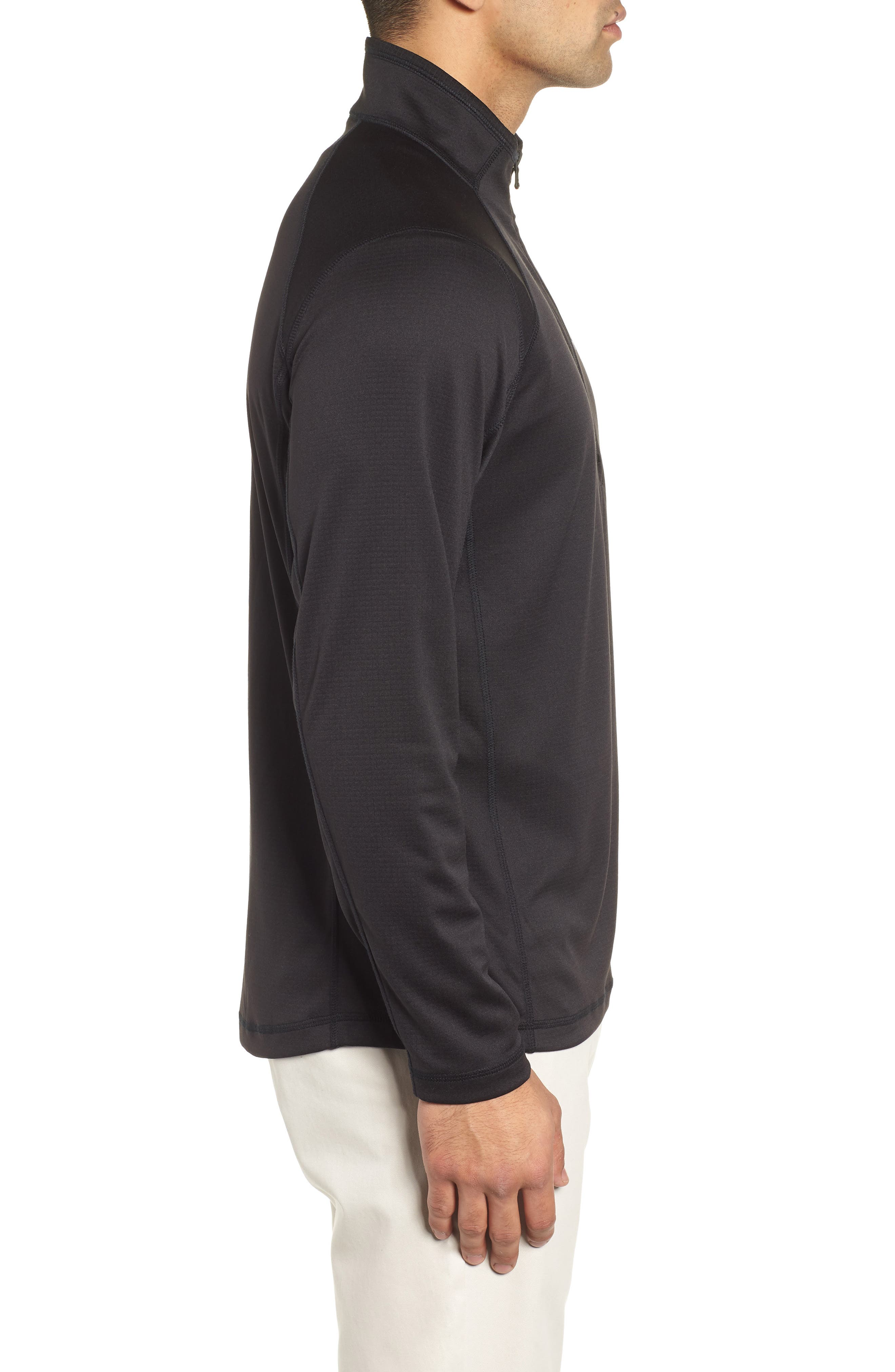 The New Nine Mile Half Zip Pullover,                             Alternate thumbnail 3, color,                             JET BLACK