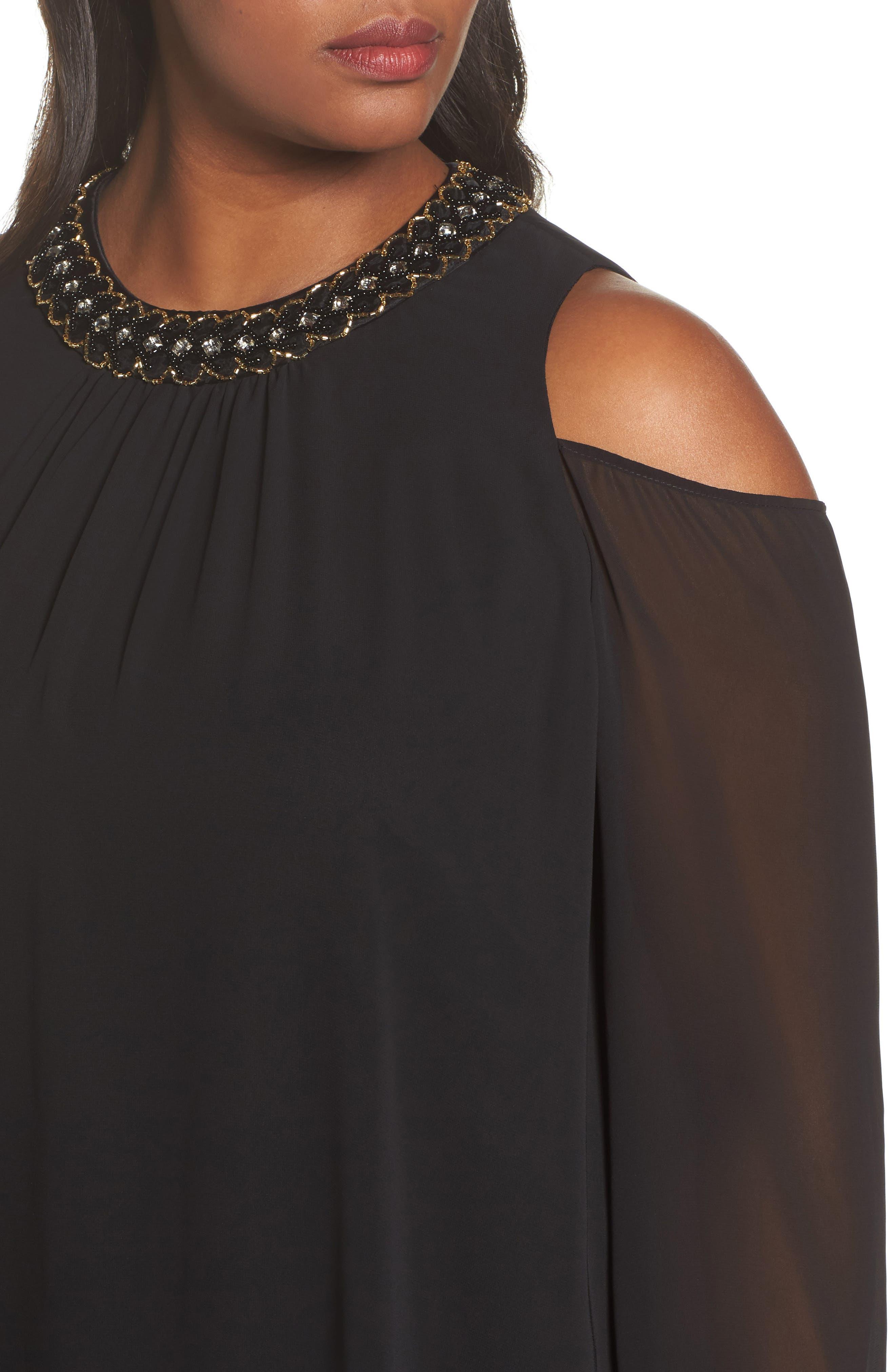 Embellished Cold Shoulder Shift Dress,                             Alternate thumbnail 4, color,                             011