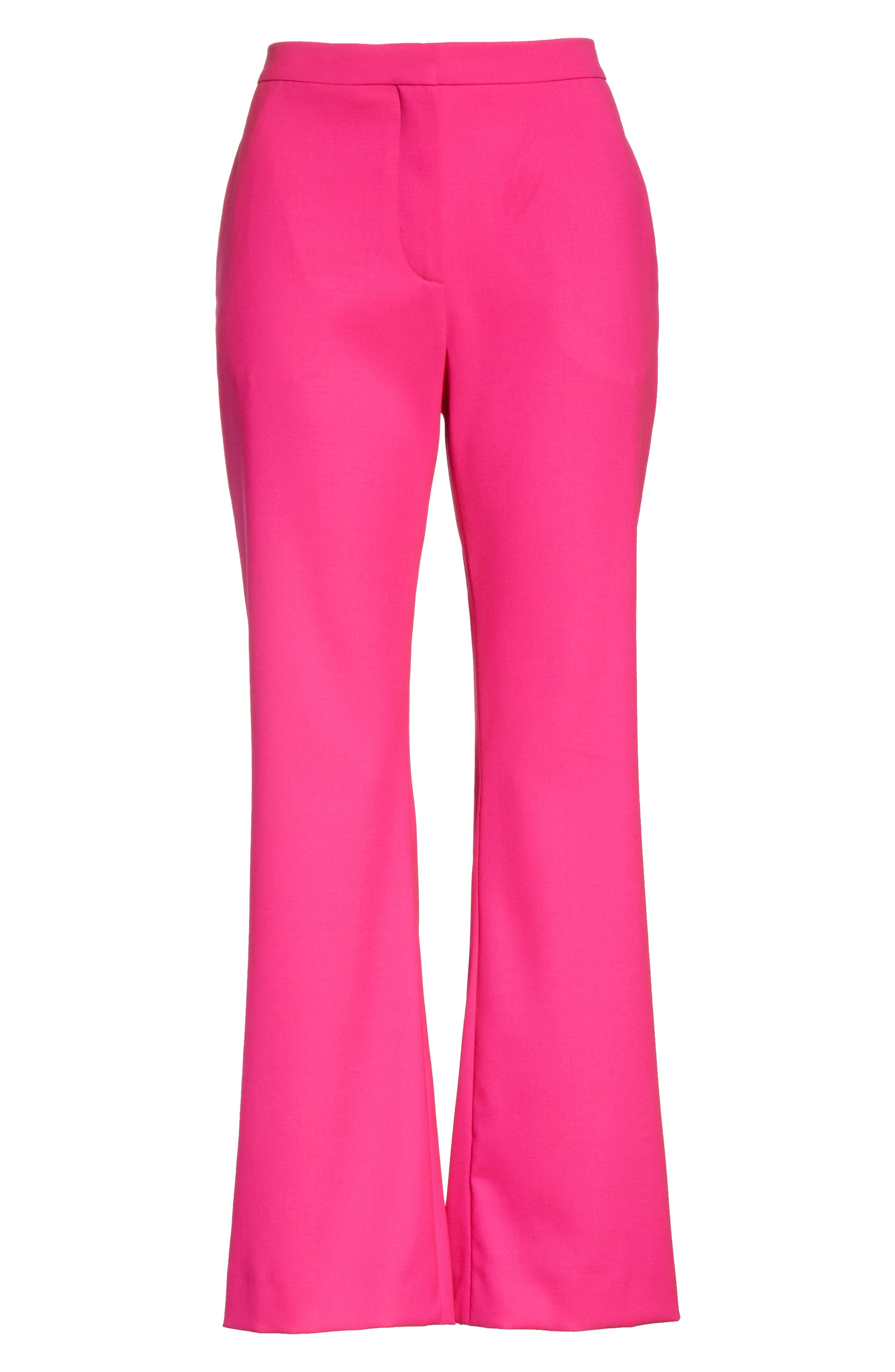 Stretch Wool Crop Flare Pants,                             Alternate thumbnail 6, color,                             650