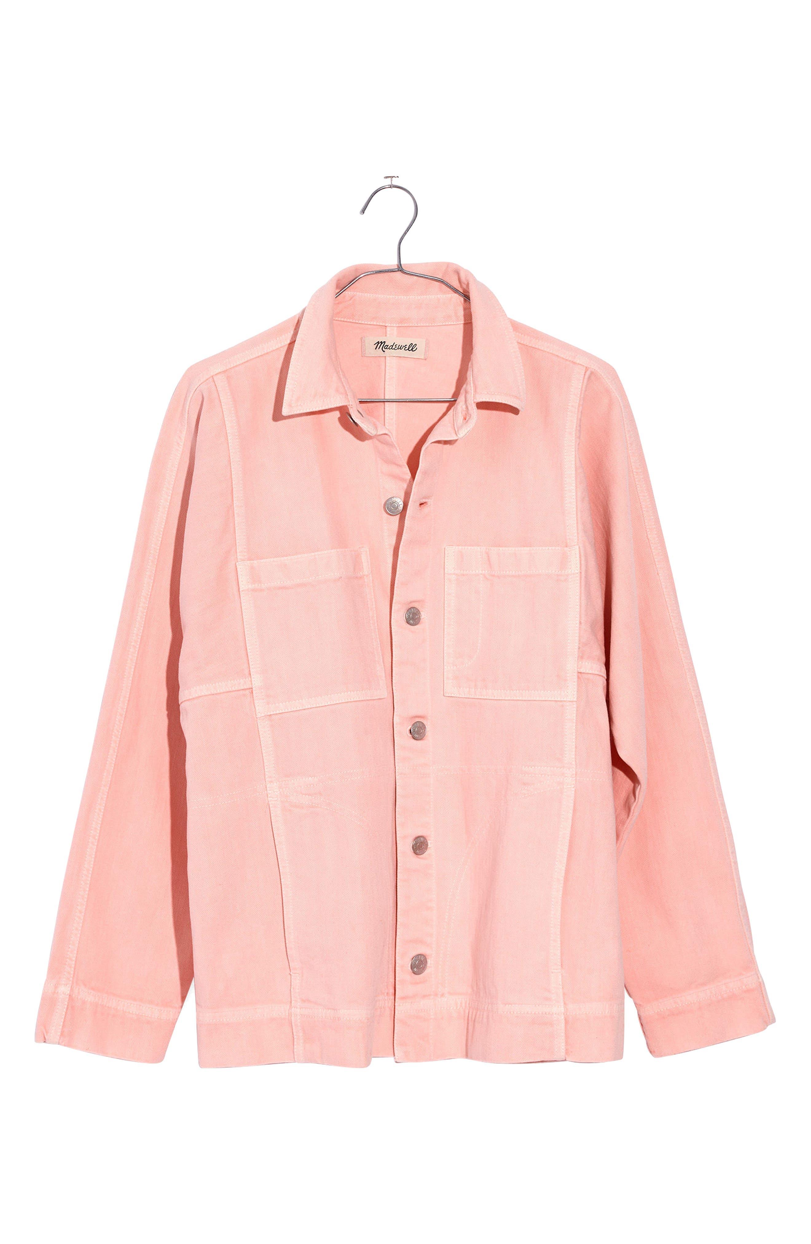 Pink Denim Chore Coat,                             Alternate thumbnail 3, color,                             650