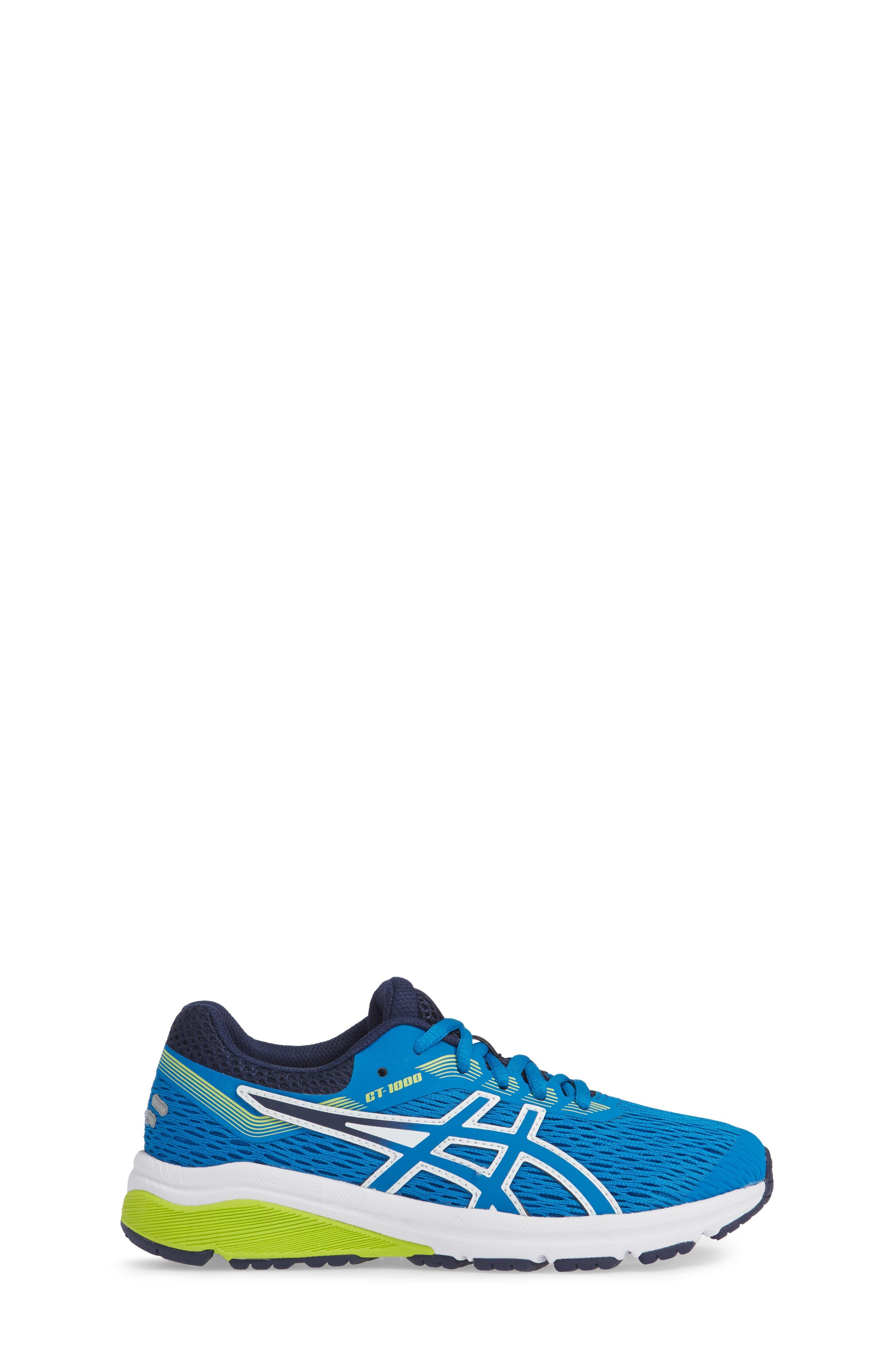 GT 1000 7 Running Shoe,                             Alternate thumbnail 3, color,                             RACE BLUE/ NEON LIME